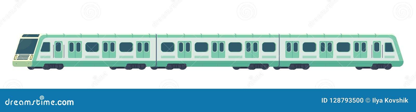 Σύγχρονο ηλεκτρικό μεγάλο τραίνο Passanger Μεταφορά υπογείων ή μετρό σιδηροδρόμων Υπόγεια διανυσματική απεικόνιση τραίνων
