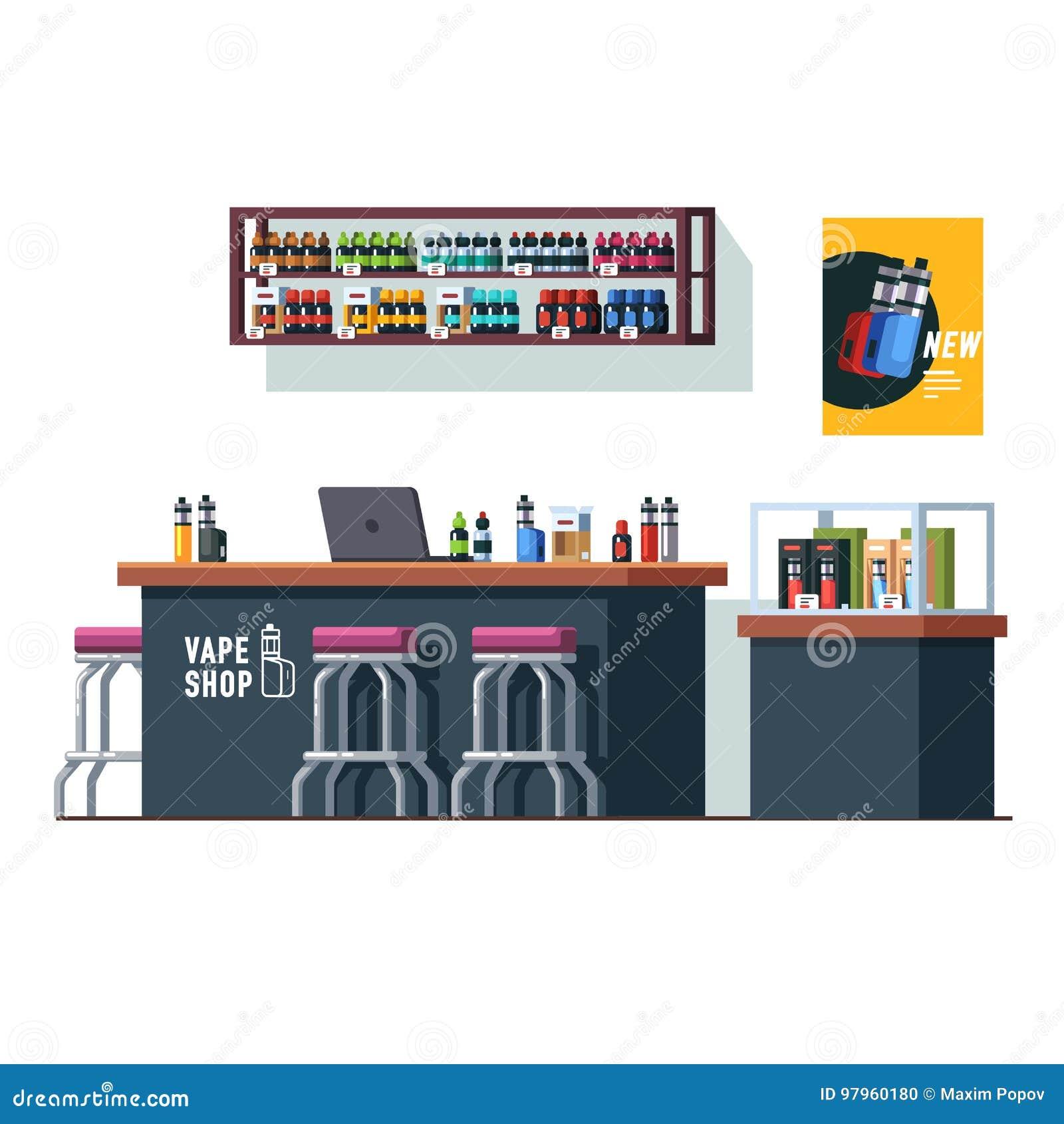 Σύγχρονο κατάστημα vape με το αντίθετο γραφείο και storefront