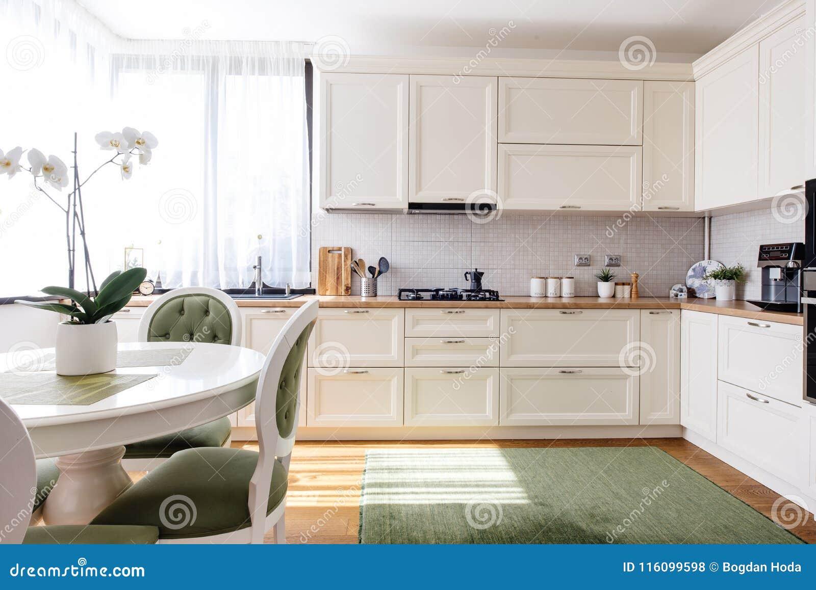 Σύγχρονο σχέδιο κουζινών, όμορφο εσωτερικό με το φυσικό φως και λουλούδια
