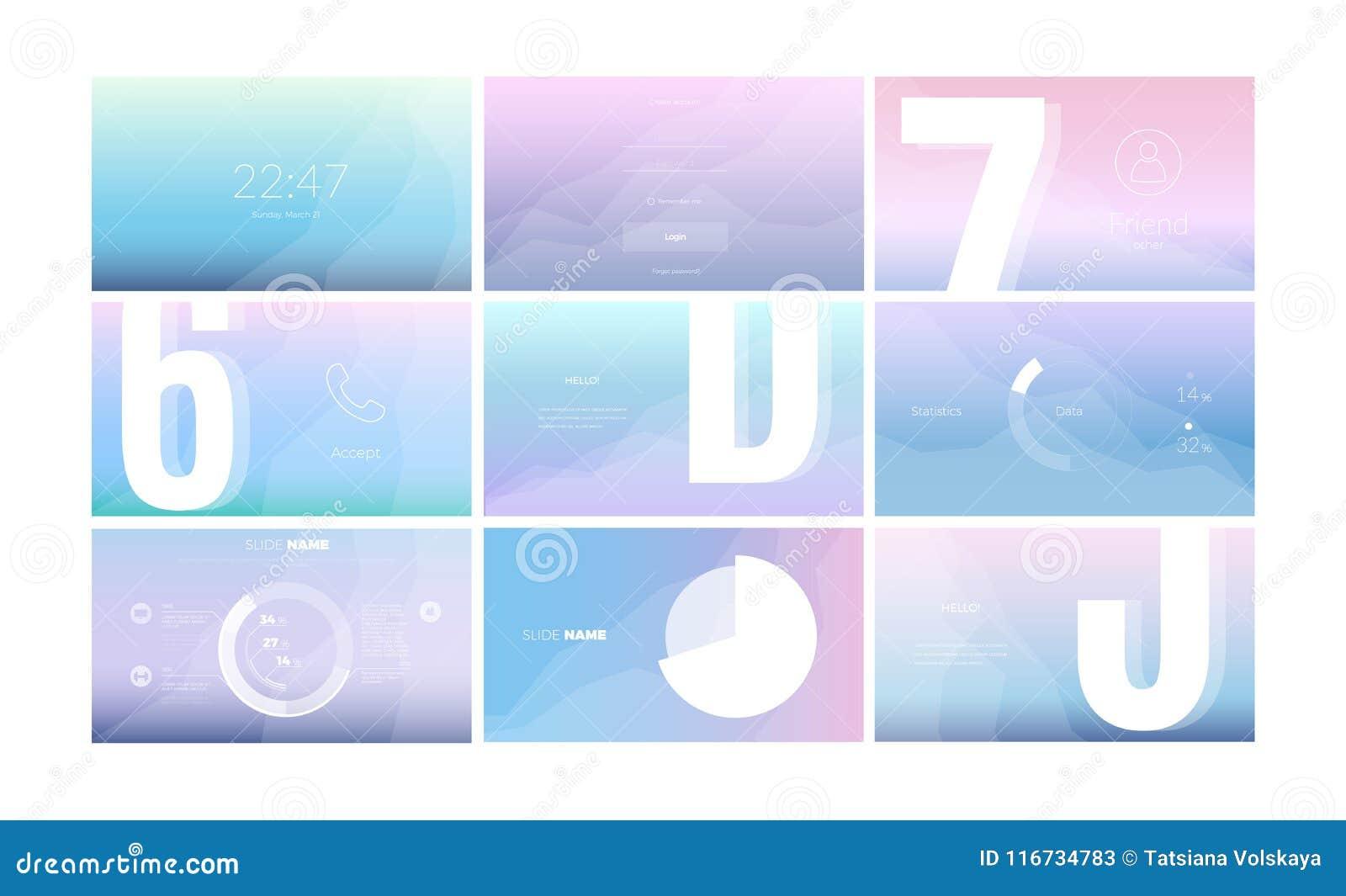 Σύγχρονο σχέδιο οθόνης UI για κινητό app με τα στοιχεία Ιστού