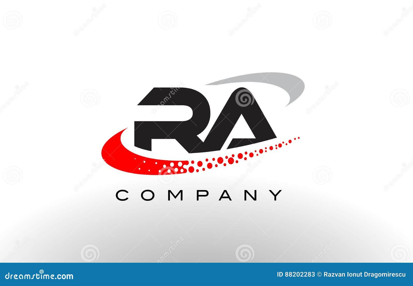 Σύγχρονο σχέδιο λογότυπων επιστολών RA με κόκκινο διαστιγμένο Swoosh