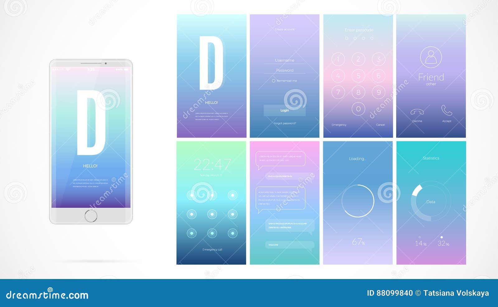 Σύγχρονο σχέδιο οθόνης UI για κινητό app με τα εικονίδια Ιστού