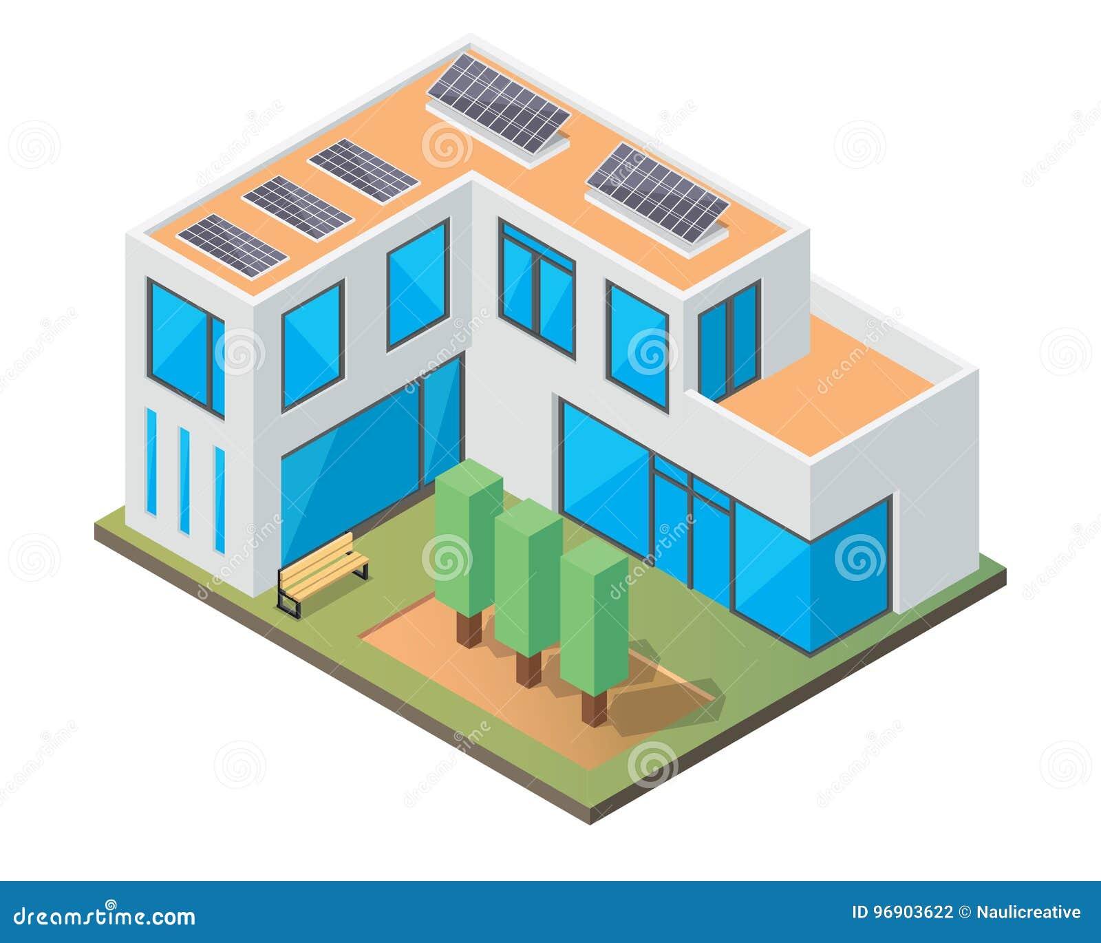 Σύγχρονο φιλικό θερμοκήπιο Eco πολυτέλειας Isometric με το ηλιακό πλαίσιο