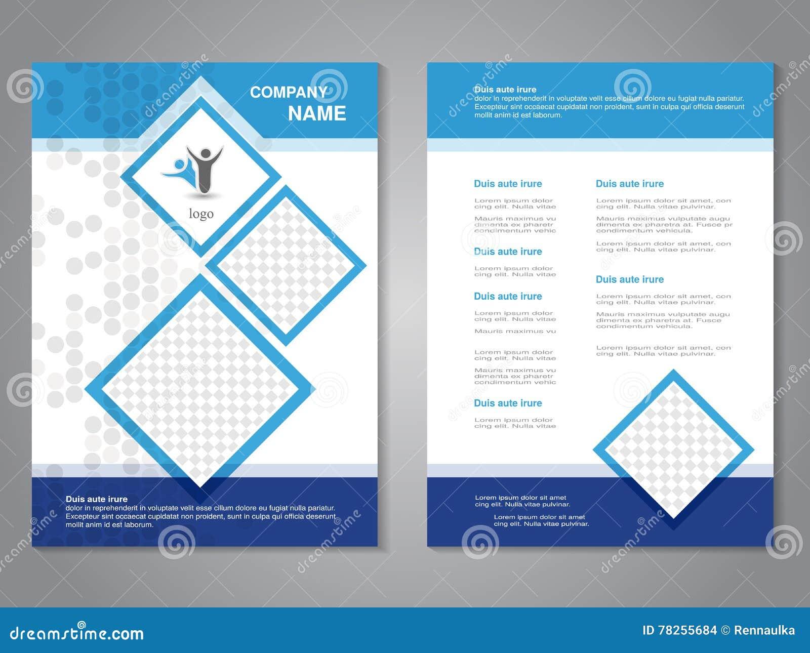 Σύγχρονο φυλλάδιο, αφηρημένο ιπτάμενο, απλό διαστιγμένο σχέδιο με τα τετράγωνα για τις φωτογραφίες σας Πρότυπο σχεδιαγράμματος Λό