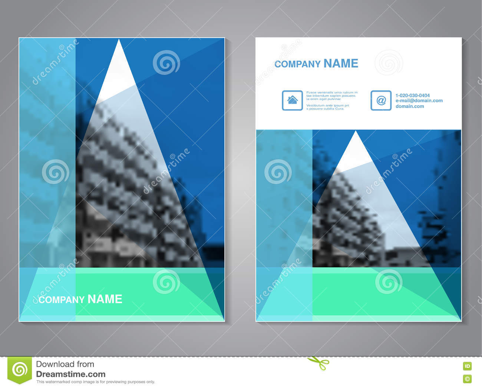 Σύγχρονο φυλλάδιο με το σχέδιο τριγώνων, αφηρημένο ιπτάμενο με το υπόβαθρο των μονοχρωματικών κτηρίων Πρότυπο σχεδιαγράμματος Λόγ