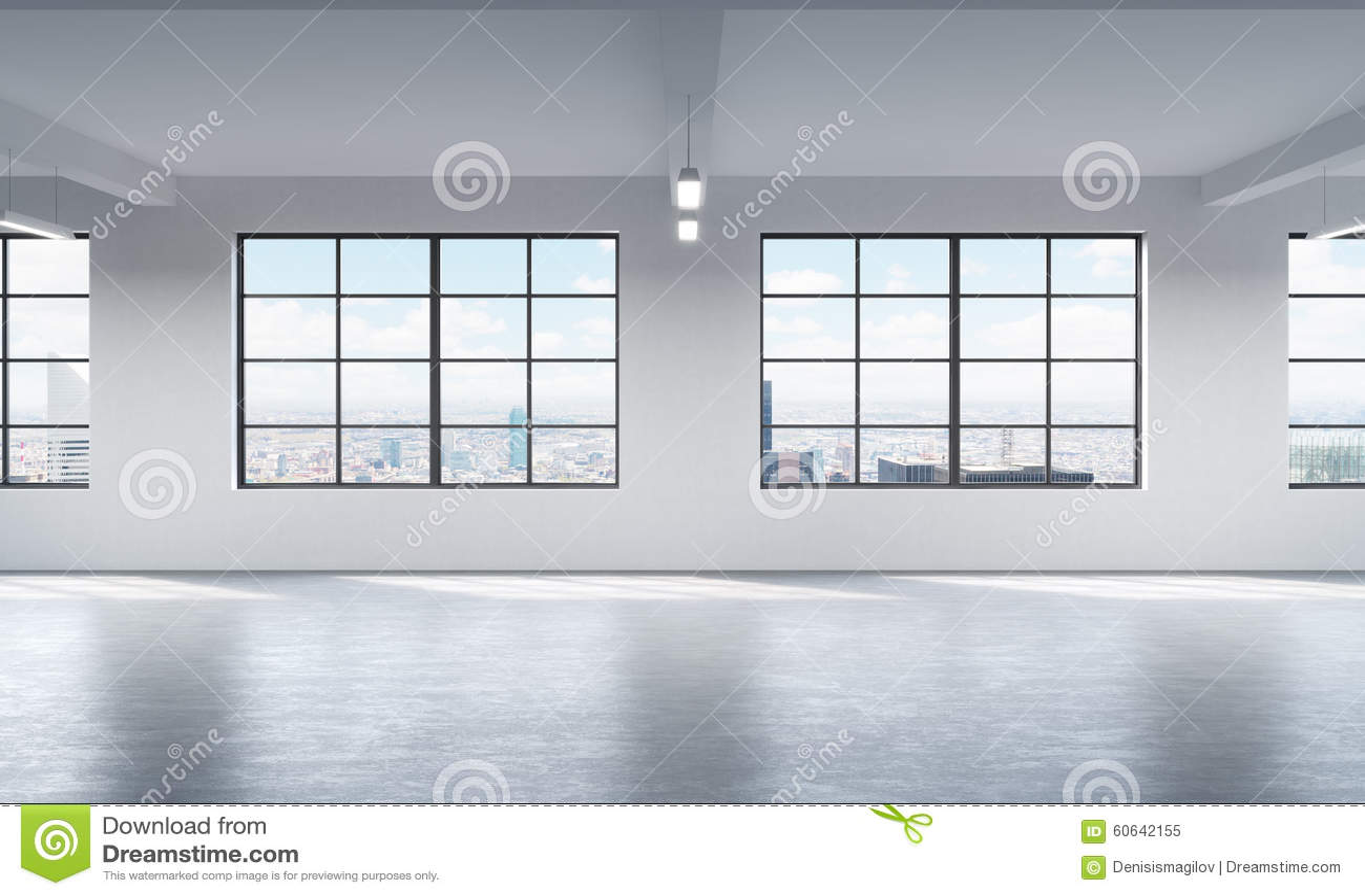 Σύγχρονο φωτεινό καθαρό εσωτερικό ενός ανοιχτού χώρου ύφους σοφιτών Τεράστια παράθυρα και άσπροι τοίχοι Πανοραμική άποψη πόλεων τ