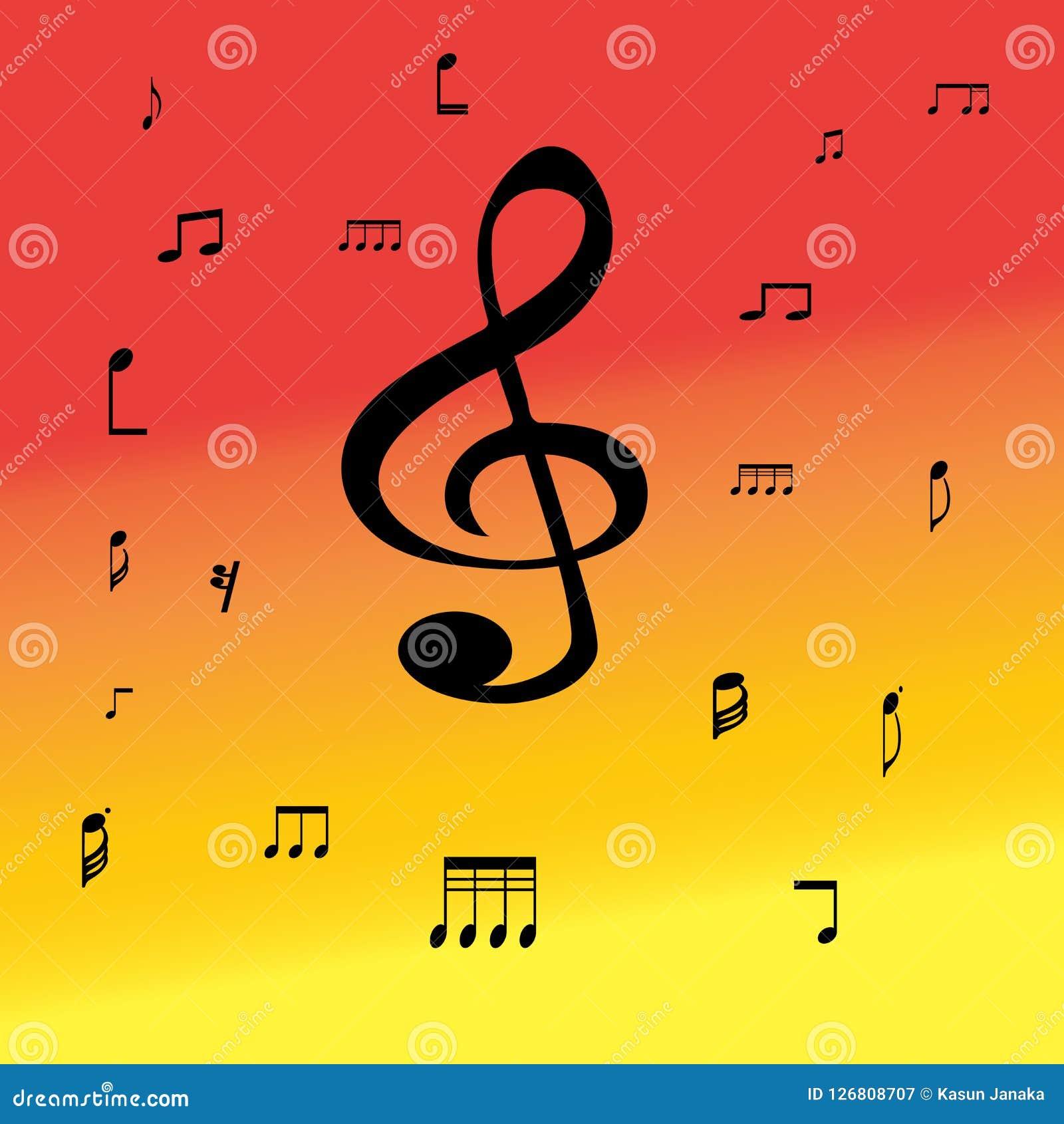 Σύμβολα μουσικής στο υπόβαθρο χρώματος