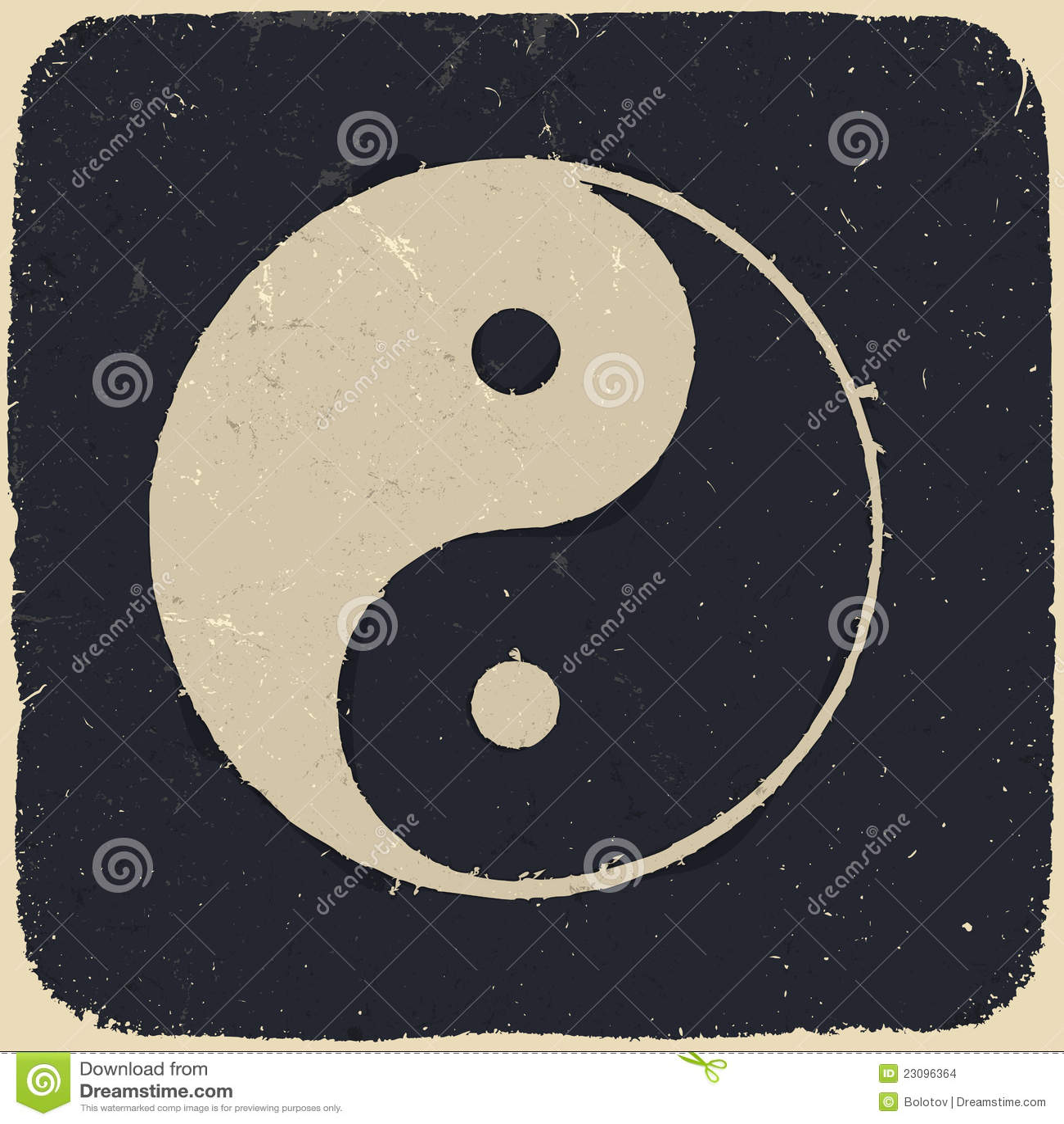 σύμβολο ανασκόπησης grunge yang yin