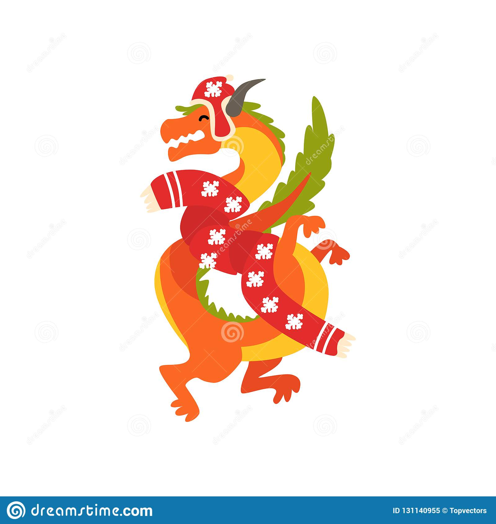 Σύμβολο δράκων του νέου έτους, χαριτωμένο ζώο του κινεζικού ωροσκοπίου στη διανυσματική απεικόνιση κοστουμιών Άγιου Βασίλη σε ένα