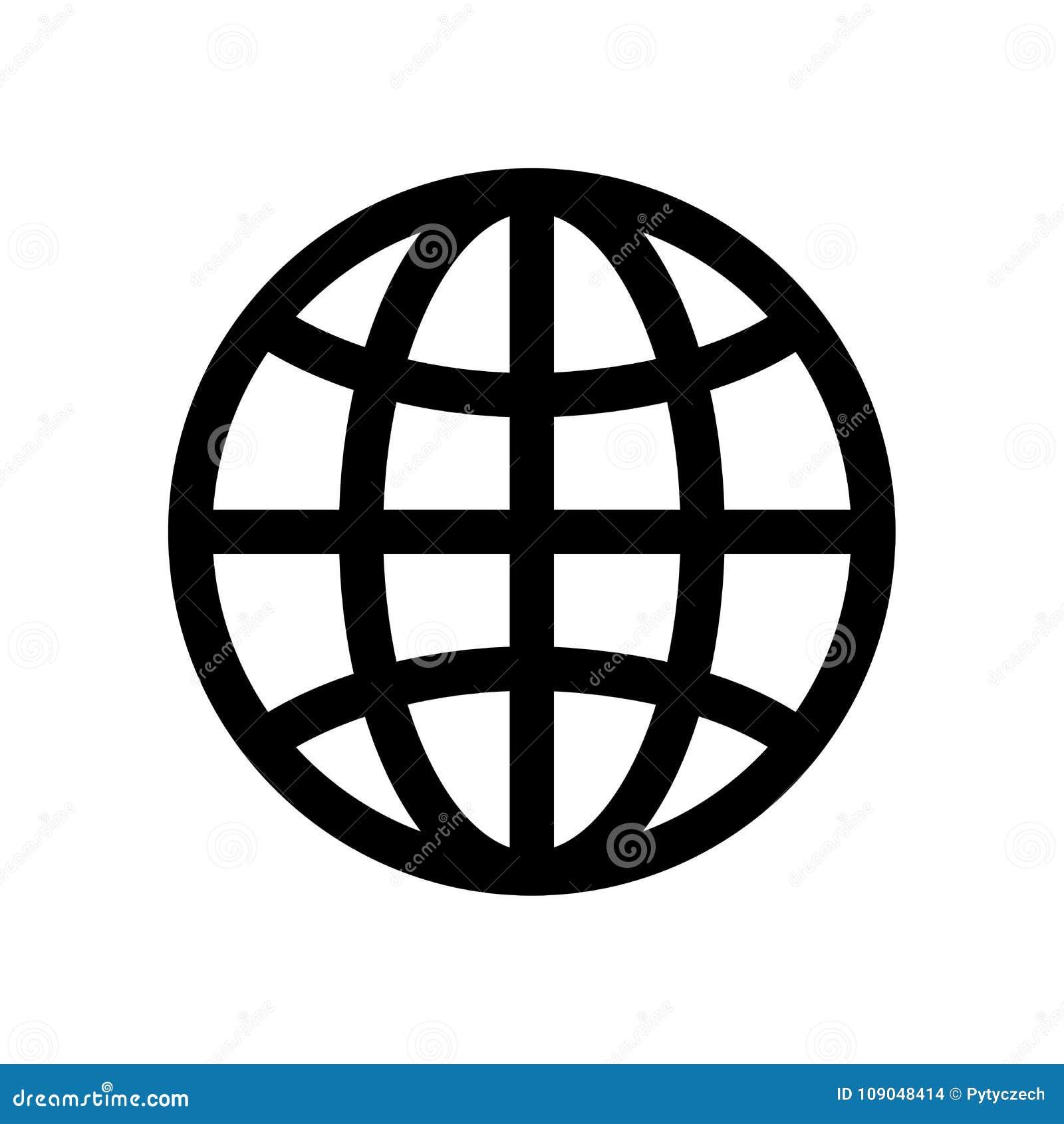 Σύμβολο σφαιρών Πλανήτης Γη ή σημάδι μηχανών αναζήτησης Διαδικτύου Στοιχείο σύγχρονου σχεδίου περιλήψεων Απλό μαύρο επίπεδο διανυ