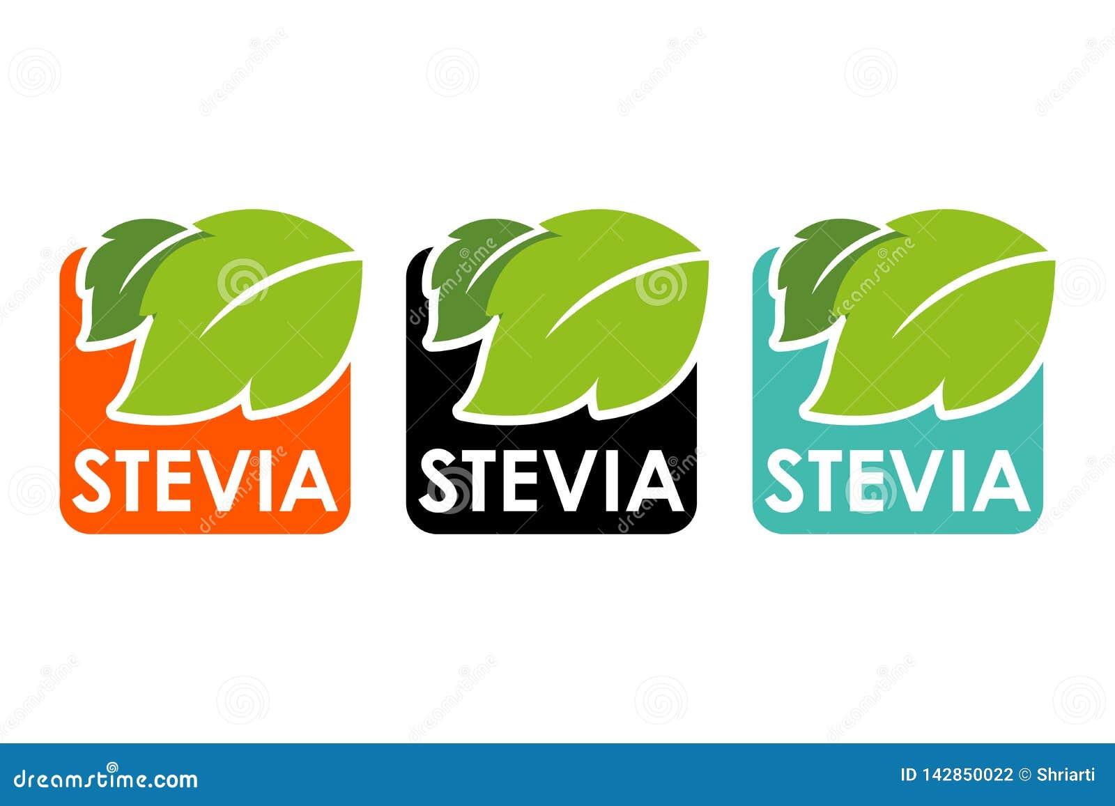 Σύμβολο του stevia ή της γλυκιάς χλόης με τις ζωηρόχρωμες ετικέτες