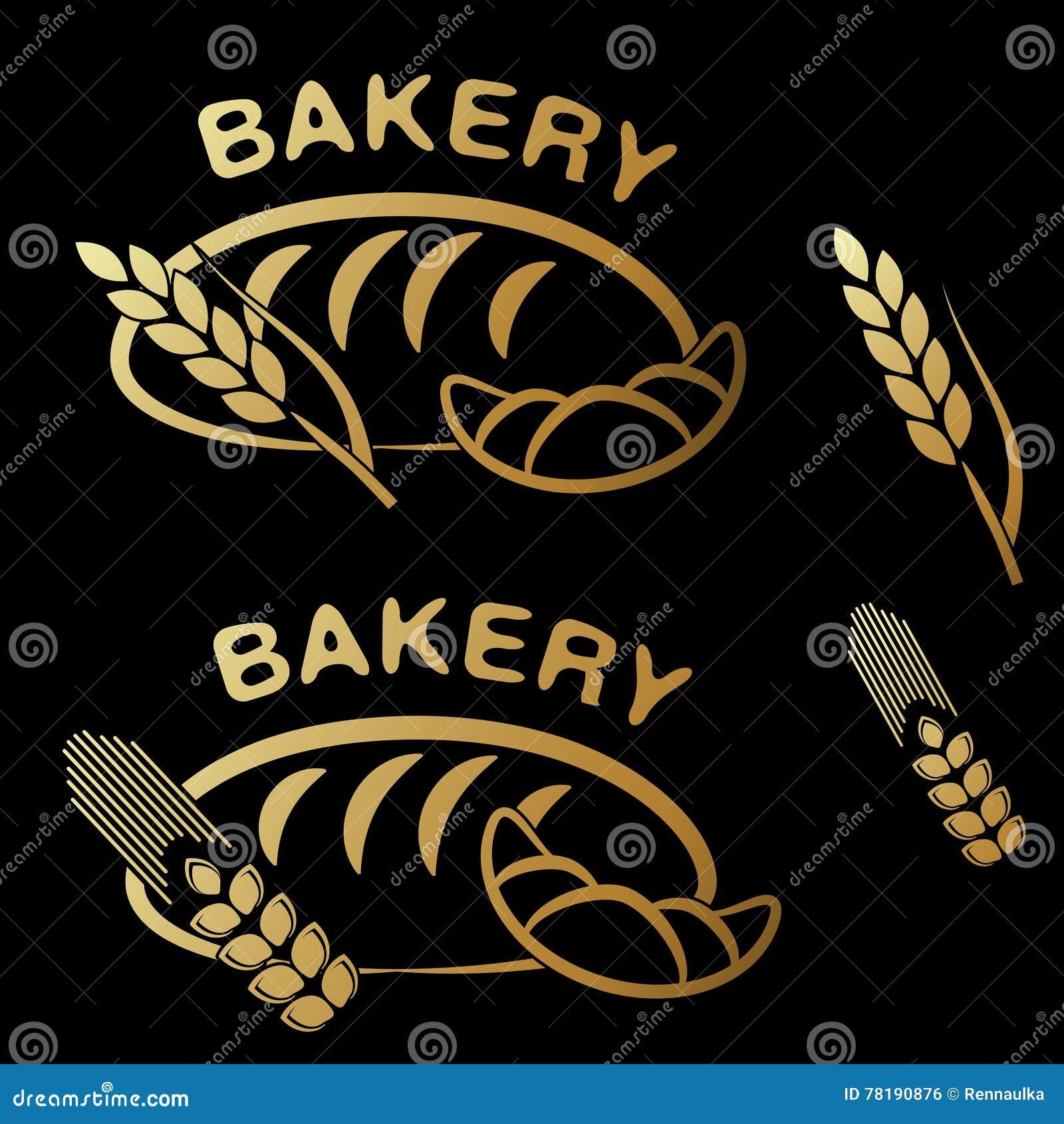 Σύμβολα καταστημάτων αρτοποιείων Χρυσό απλό εικονίδιο του croissant, σιταριού ψωμιού και ακίδων στο μαύρο υπόβαθρο
