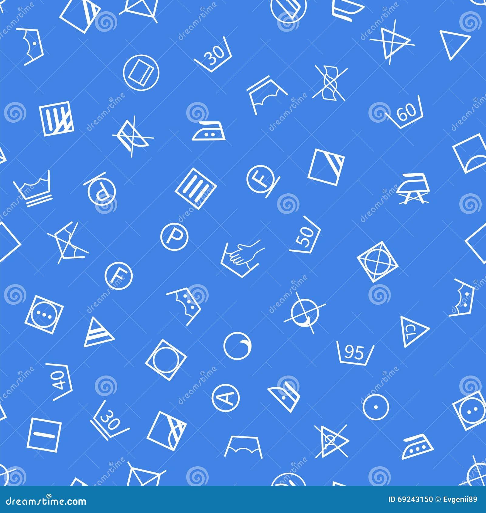 Σύμβολα πλυντηρίων στο μπλε άνευ ραφής σχέδιο υποβάθρου