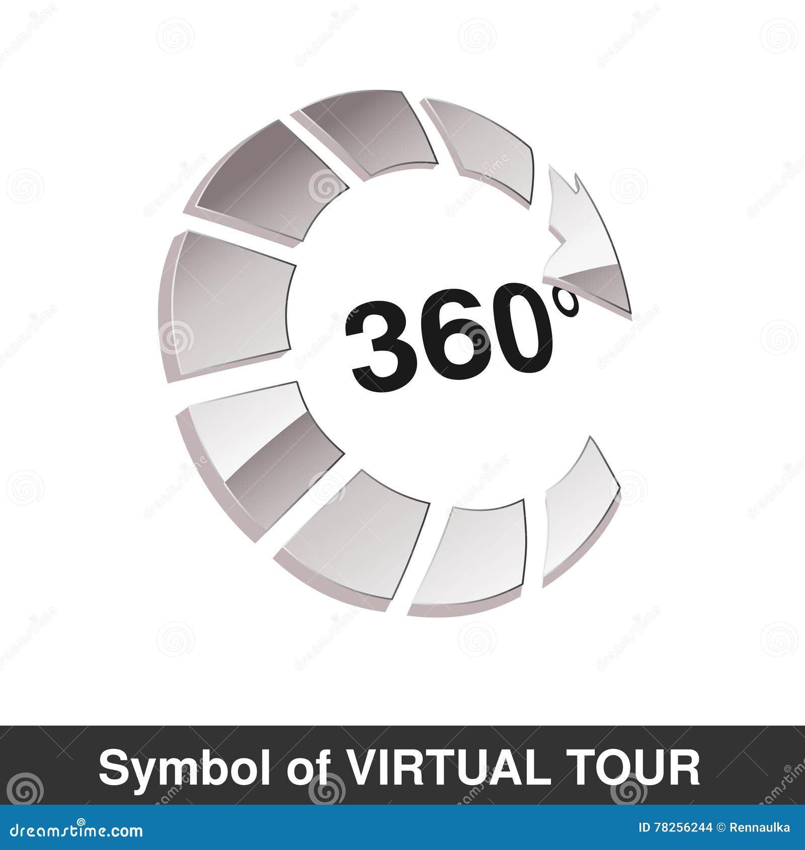 Σύμβολο για τον εικονικό γύρο, στιλπνό ασημένιο βέλος - κουμπώστε με την επιγραφή 360