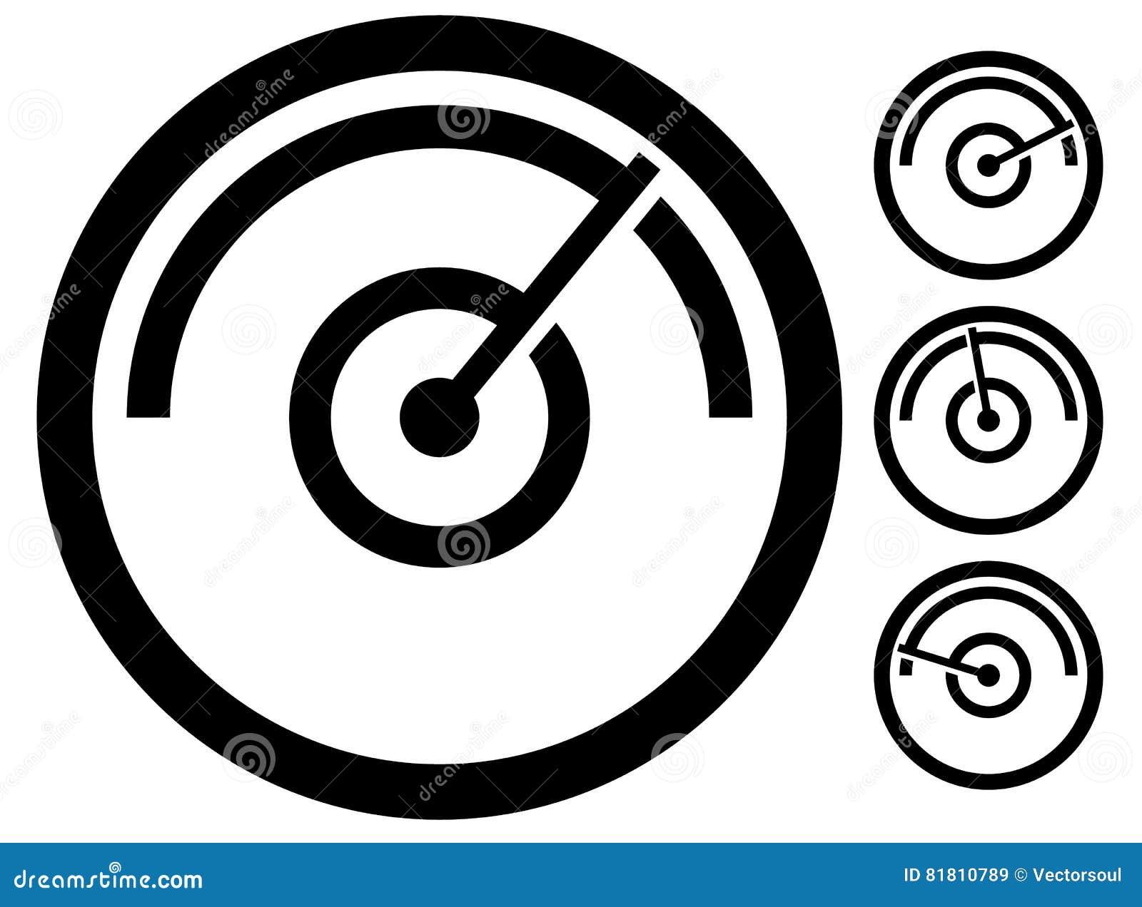 Σύμβολο μετρητών μετρητών, εικονίδιο σε 4 στάδια μετρητής πίεσης, οδόμετρο,