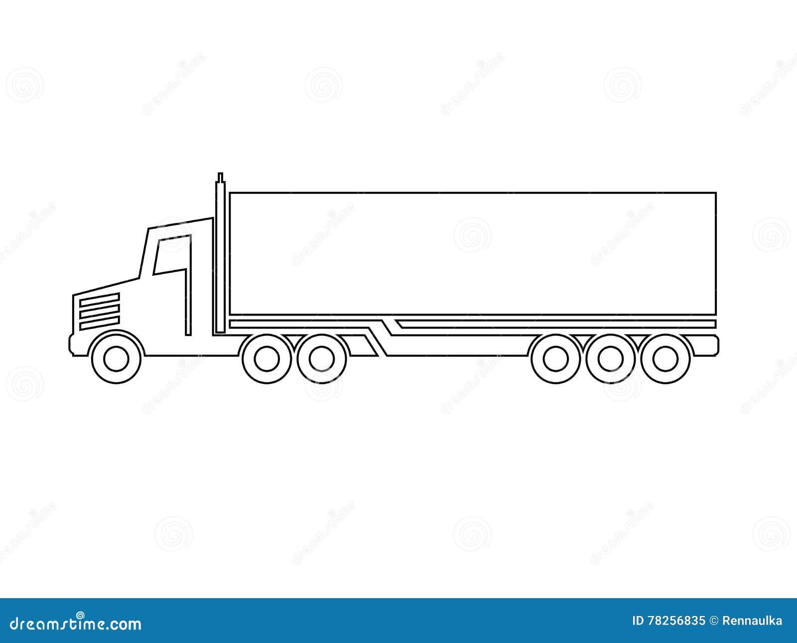 Σύμβολο της μεταφοράς, ναυτιλία εικονιδίων του κιβωτίου, σκιαγραφία του φορτηγού, φορτηγό Μονοχρωματικό σχέδιο γραμμών