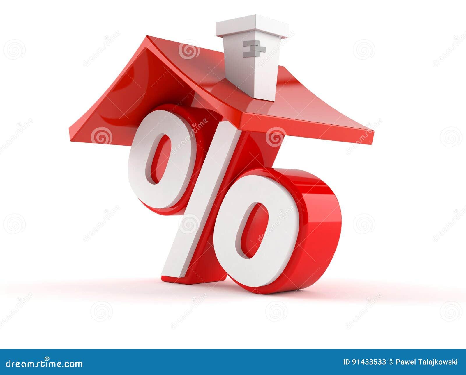 Σύμβολο τοις εκατό με τη στέγη σπιτιών