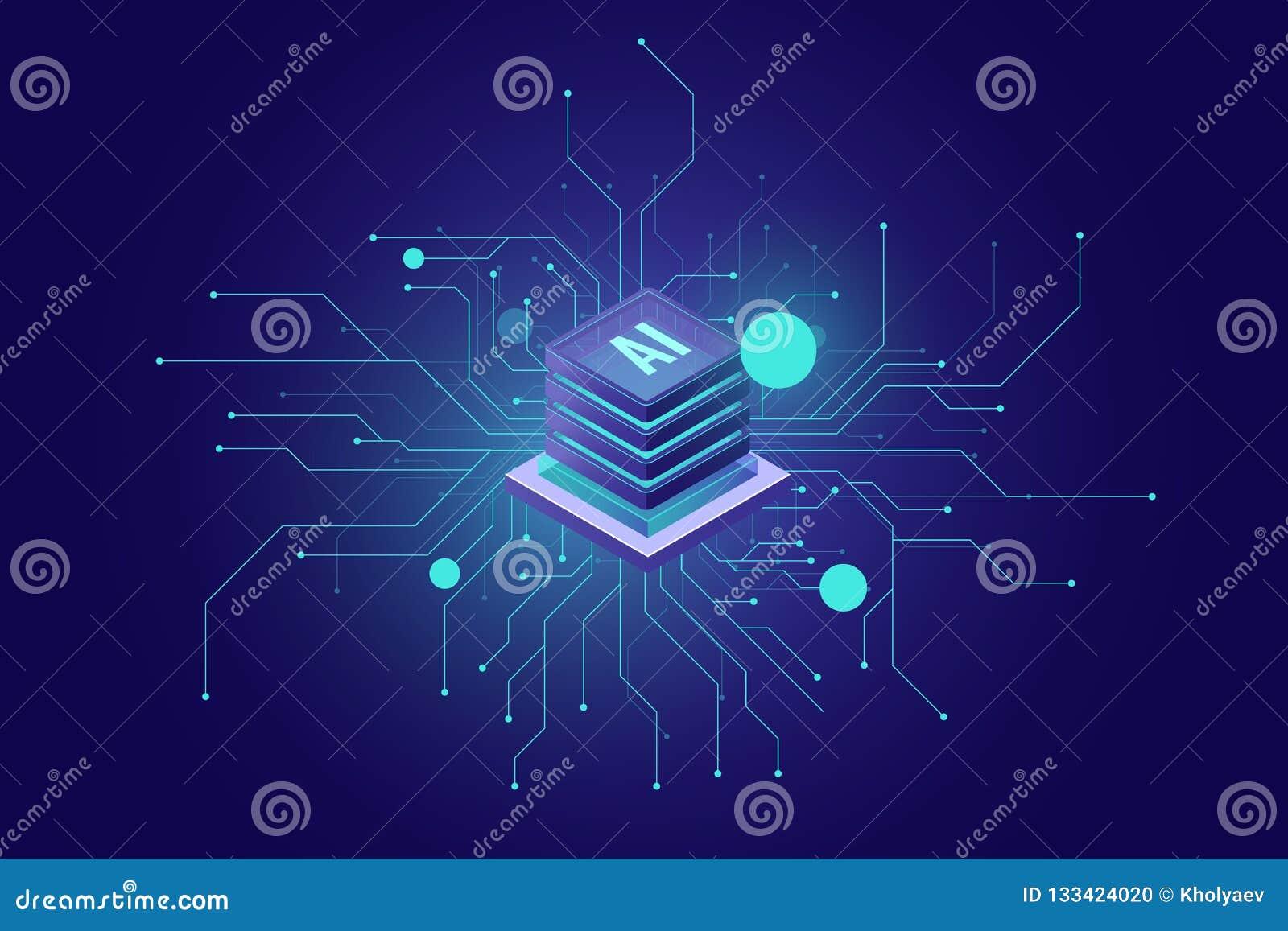 Σύνδεση στο Διαδίκτυο, τεχνητής νοημοσύνης αφηρημένη αίσθηση εικονιδίων AI isometric της επιστήμης και της τεχνολογίας, δωμάτιο κ