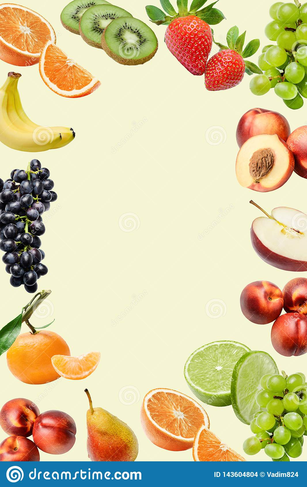 Σύνθεση με μια μεγάλη ποικιλία των διαφορετικών φρούτων γύρω από τις άκρες του πλαισίου Θέση για το κείμενο στη μέση