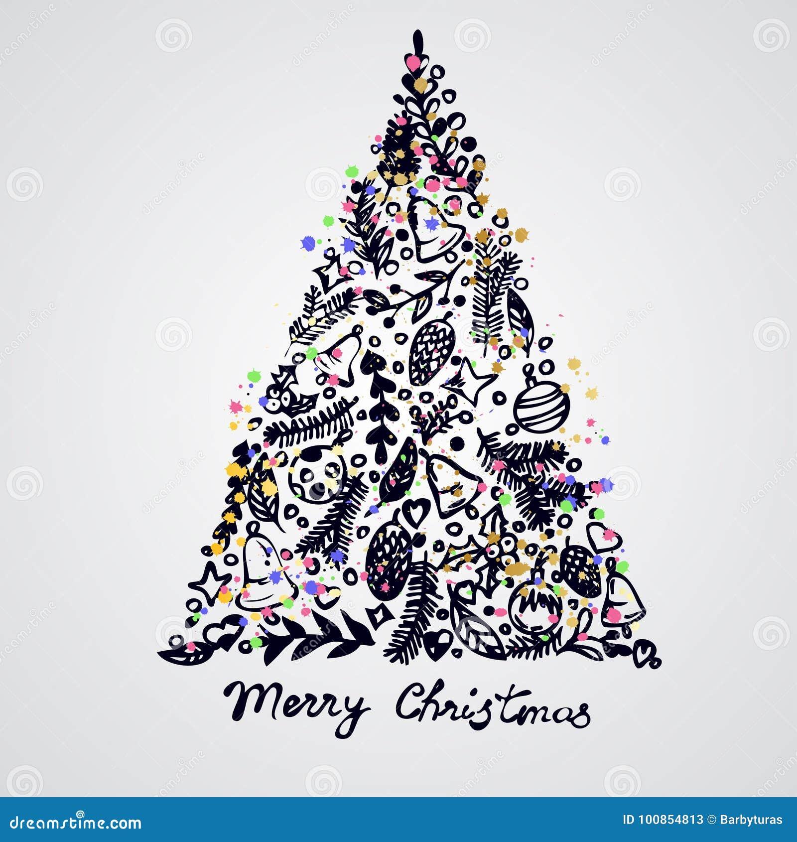 Σύνθεση στοιχείων διακοσμήσεων δέντρων Χαρούμενα Χριστούγεννας