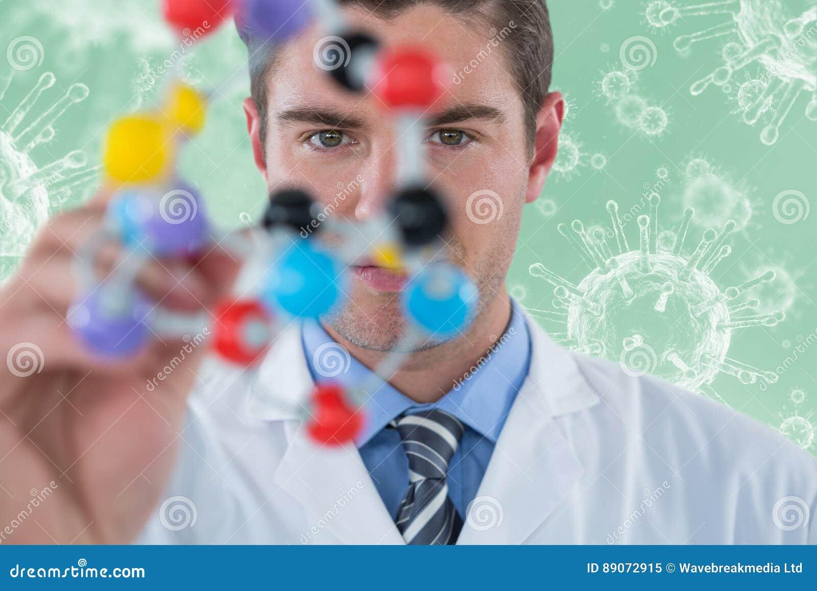 Σύνθετη εικόνα της νέας δομής μορίων επιστημόνων πειραματιμένος τρισδιάστατης