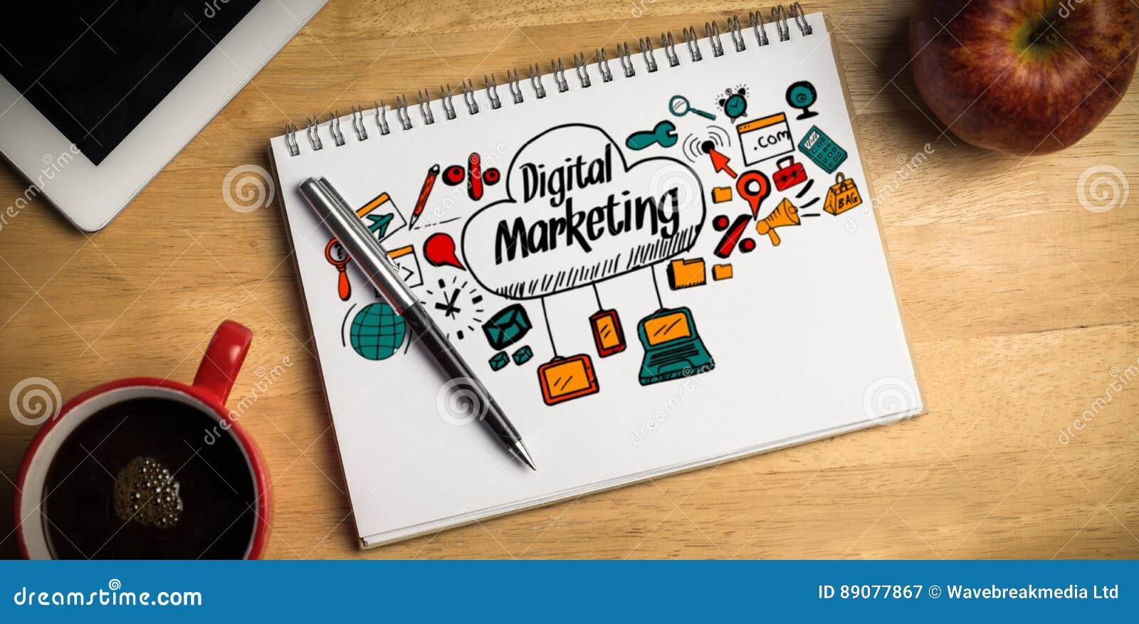Σύνθετη εικόνα της σύνθετης εικόνας του ψηφιακού κειμένου μάρκετινγκ με τα εικονίδια