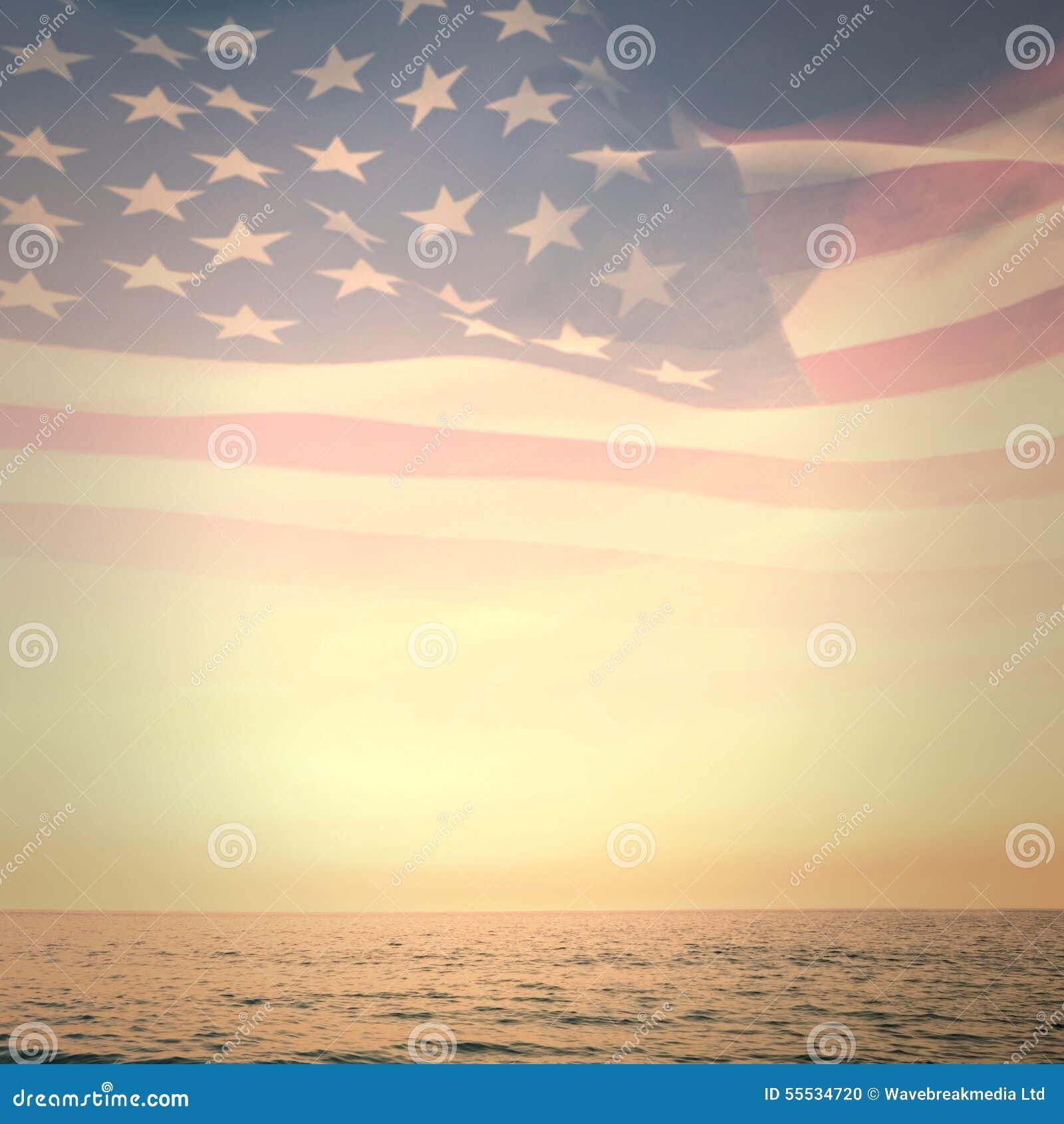 Σύνθετη εικόνα του ψηφιακά παραγμένου κυματισμού αμερικανικών σημαιών