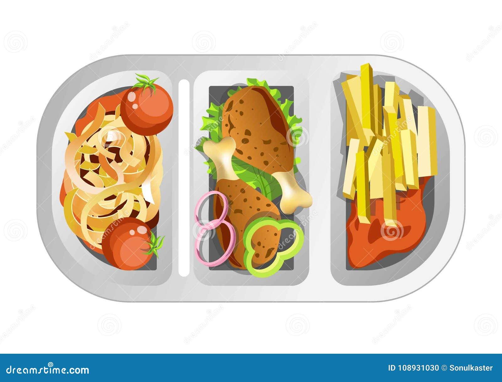Σύνθετο μεσημεριανό γεύμα στο πλαστικό πιάτο που αποτελείται από το γρήγορο γεύμα