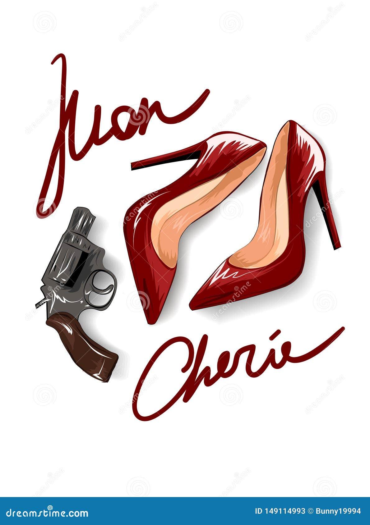 Σύνθημα Mon cherie με τα κόκκινα τακούνια και μια απεικόνιση πιστολιών