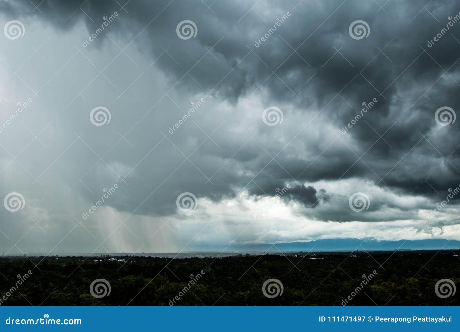 Σύννεφα θύελλας με τη βροχή