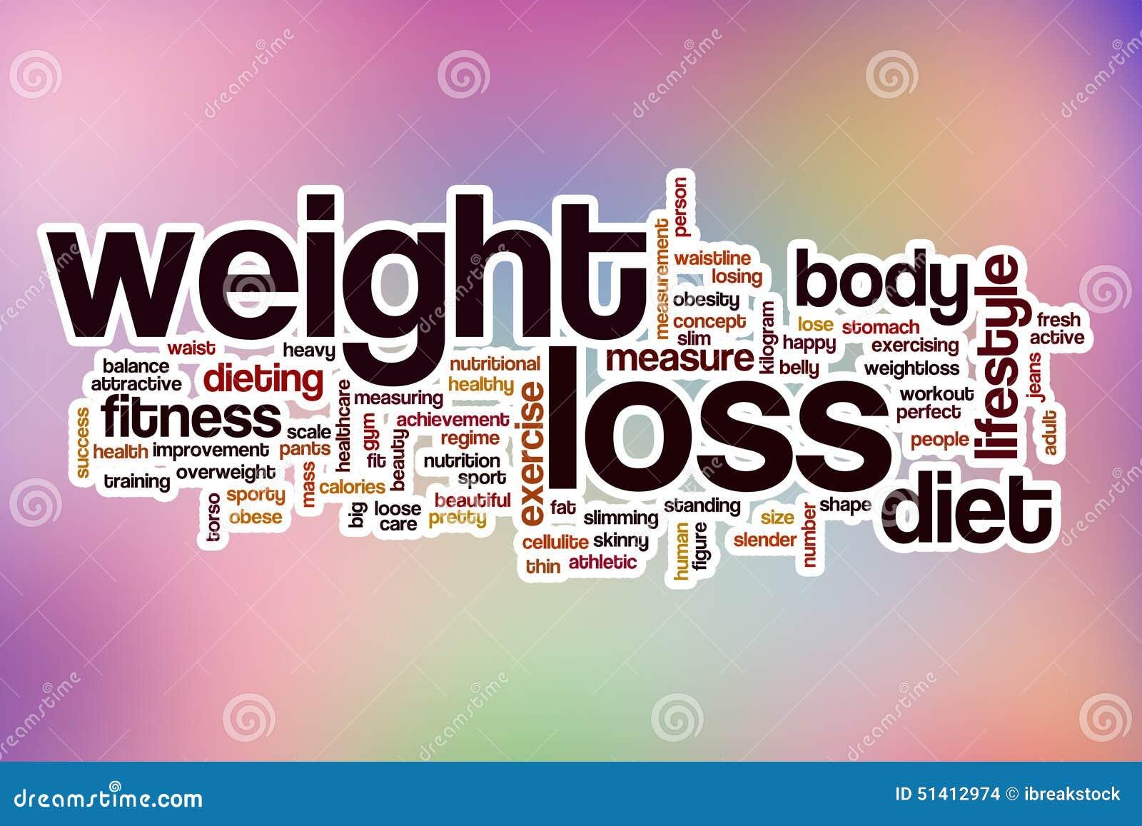 Σύννεφο λέξης απώλειας βάρους με το αφηρημένο υπόβαθρο