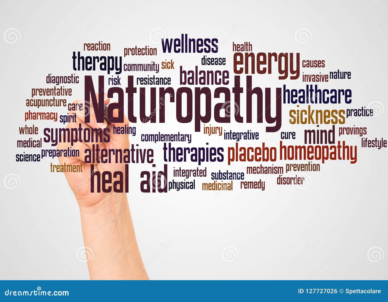 Σύννεφο και χέρι λέξης Naturopathy με την έννοια δεικτών