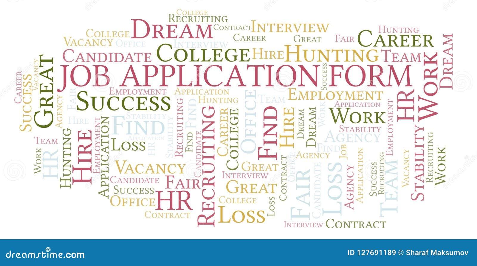 Σύννεφο λέξης αίτησης υποψηφιότητας εργασίας