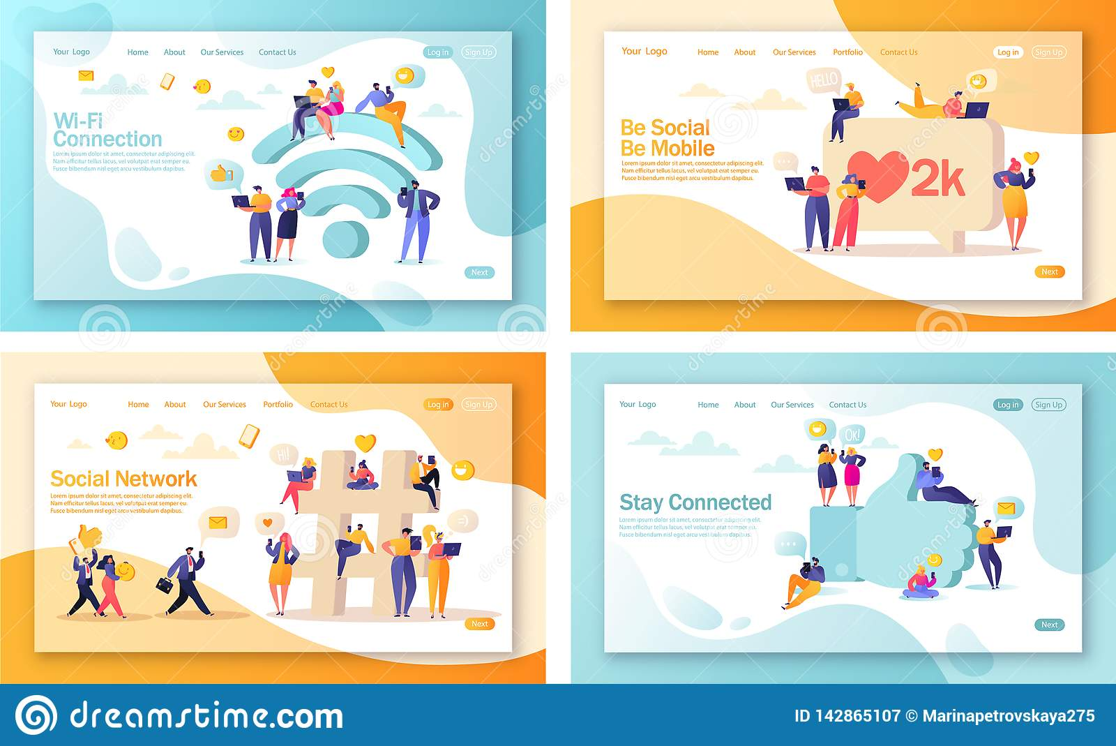 Σύνολο έννοιας των προσγειωμένος σελίδων για την κινητά ανάπτυξη ιστοχώρου και το σχέδιο ιστοσελίδας