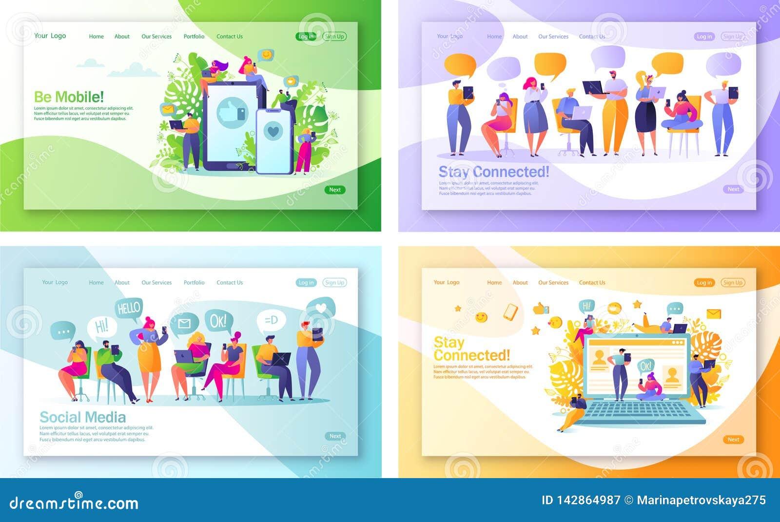 Σύνολο έννοιας των προσγειωμένος σελίδων στο κοινωνικό θέμα μέσων για την κινητά ανάπτυξη ιστοχώρου και το σχέδιο ιστοσελίδας