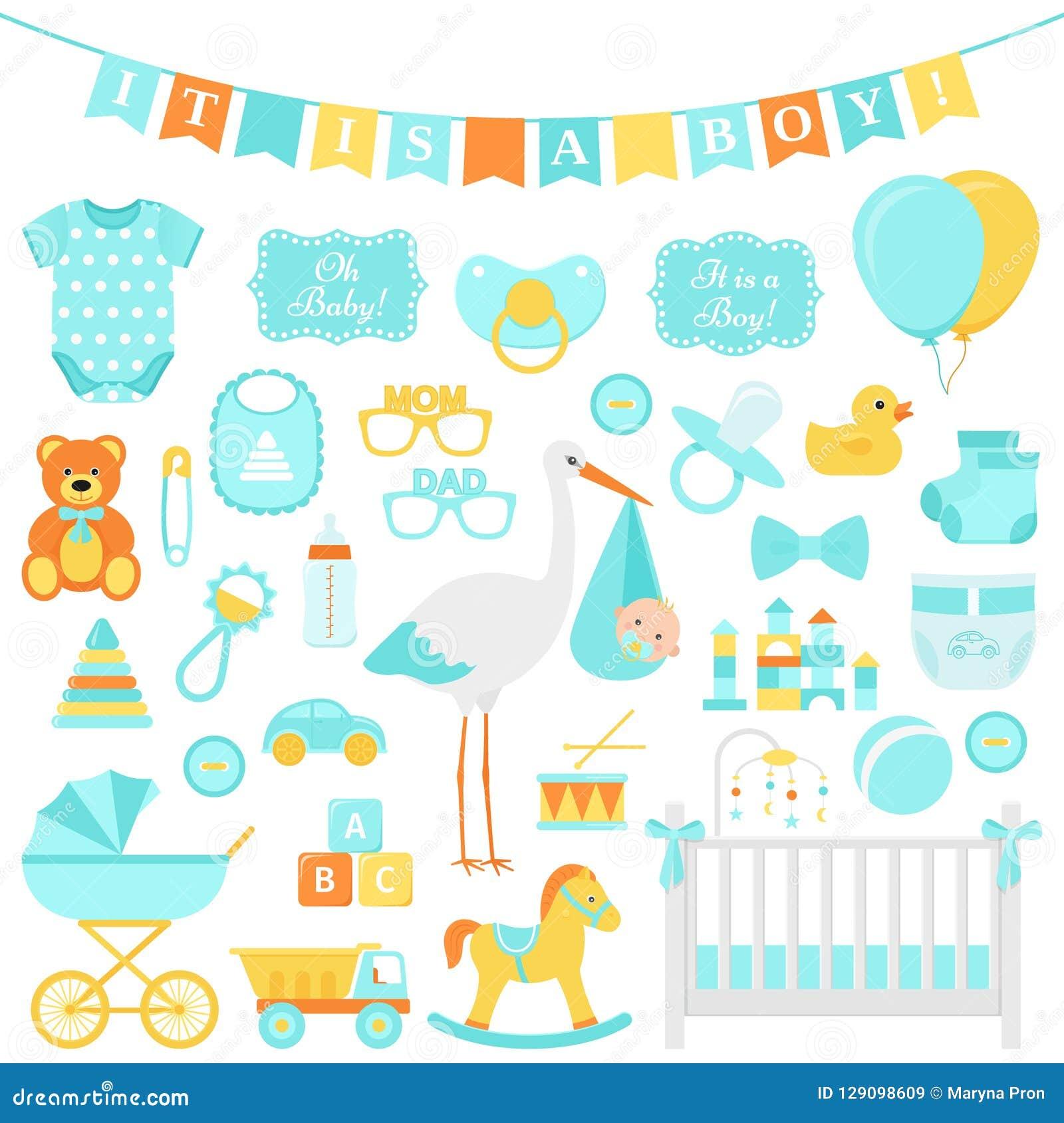 Σύνολο αγοριών ντους μωρών επίσης corel σύρετε το διάνυσμα απεικόνισης Μπλε στοιχεία για το μέρος