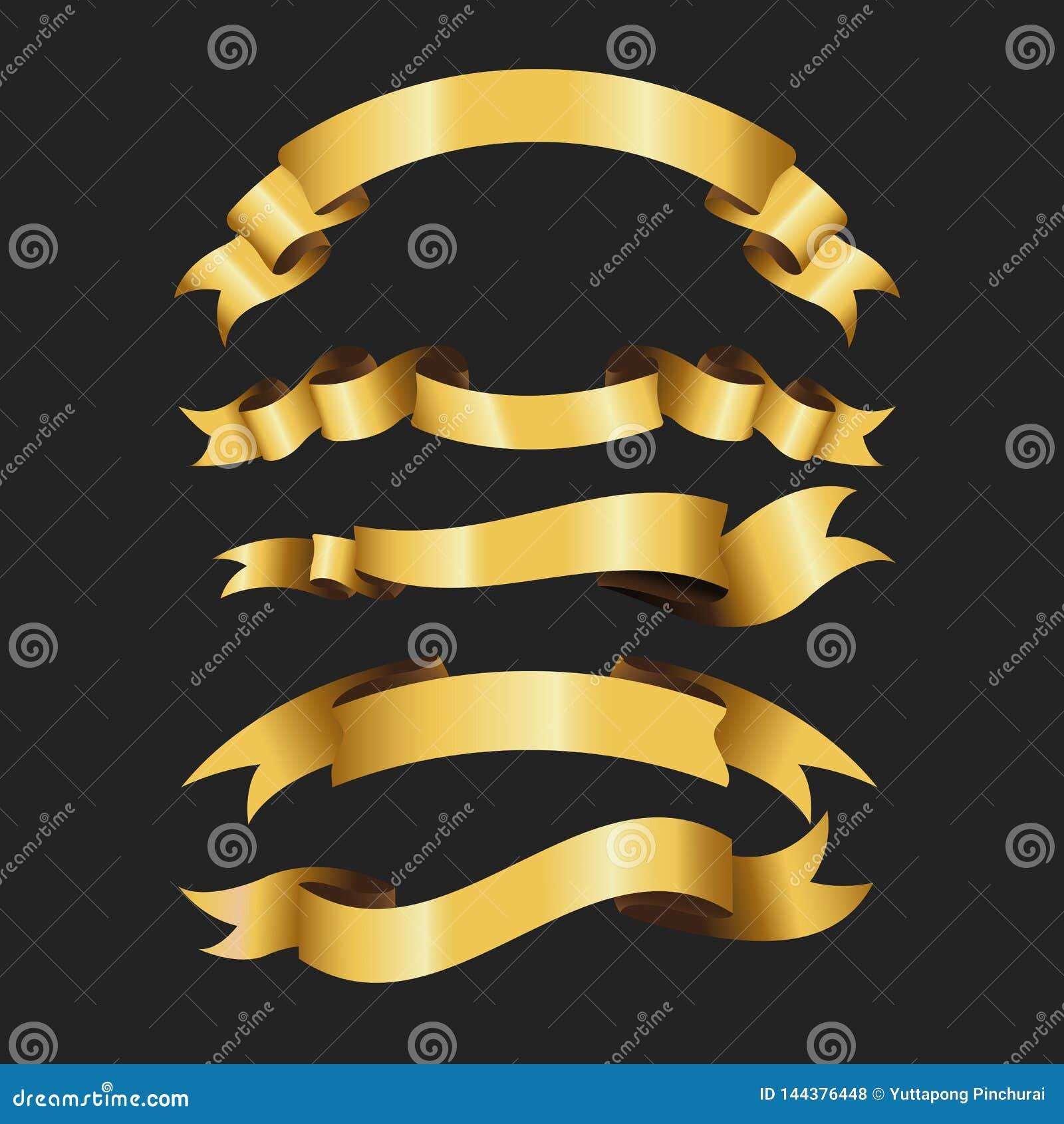Σύνολο αναδρομικής χρυσής διανυσματικής απεικόνισης κορδελλών όμορφος εορταστικός τόξο σημαιών εμβλημάτων ταινιών Στη μαύρη ανασκ
