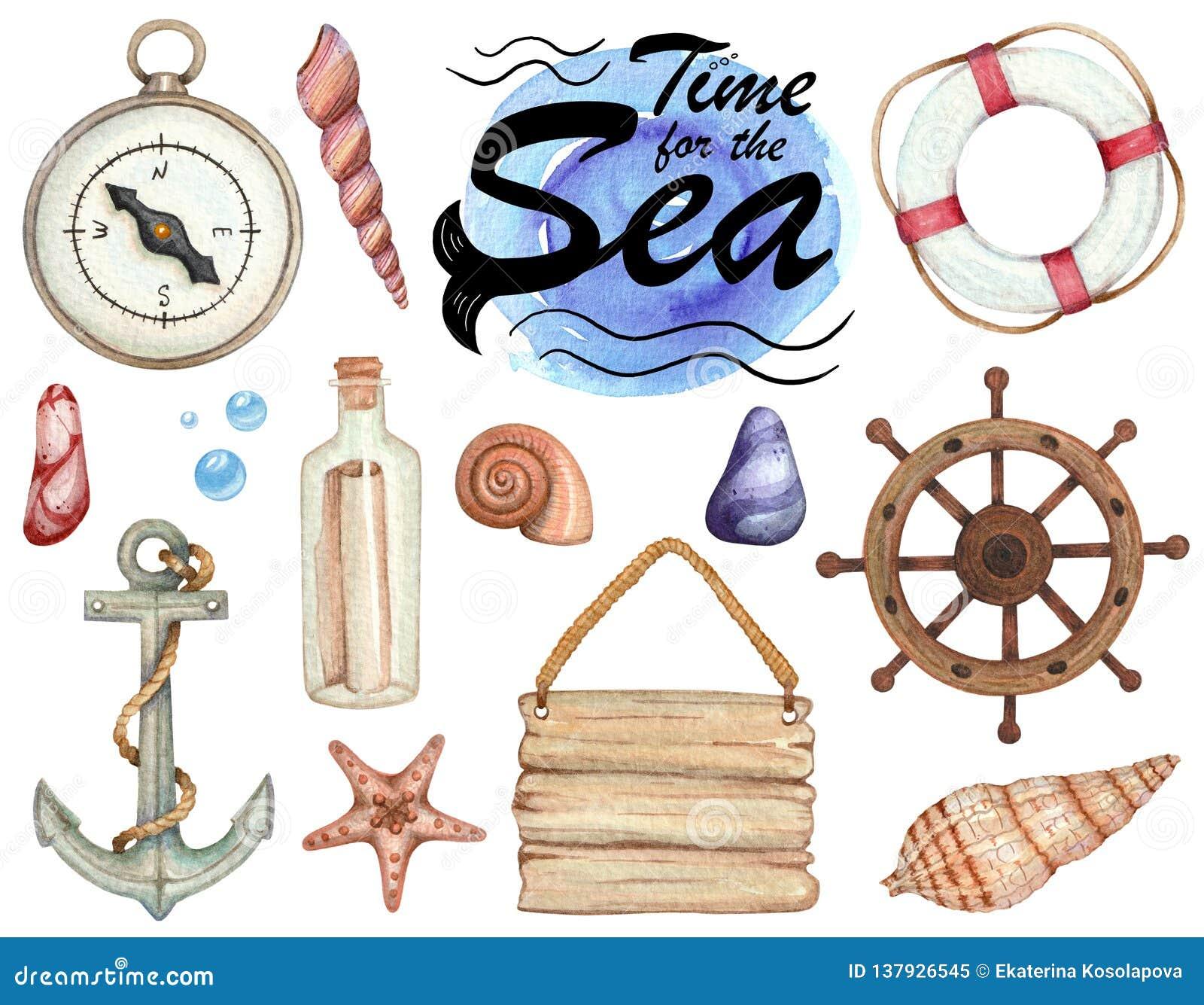Σύνολο απεικονίσεων watercolor του θέματος θάλασσας που απομονώνονται