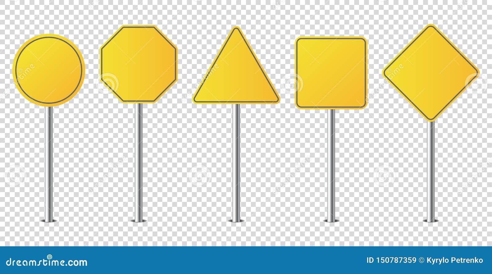 Σύνολο απομονωμένου κενού οδικών σημαδιών μετάλλων