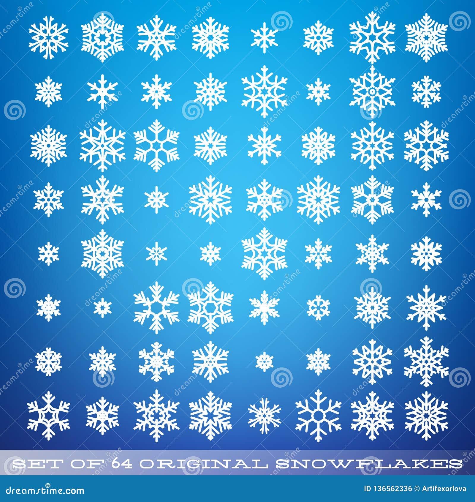 Σύνολο 64 αρχικά όμορφα snowflakes Γραφικό χειμερινό αντικείμενο Εικονίδιο χιονιού Χριστουγέννων Στοιχείο κρυστάλλου νιφάδων χιον