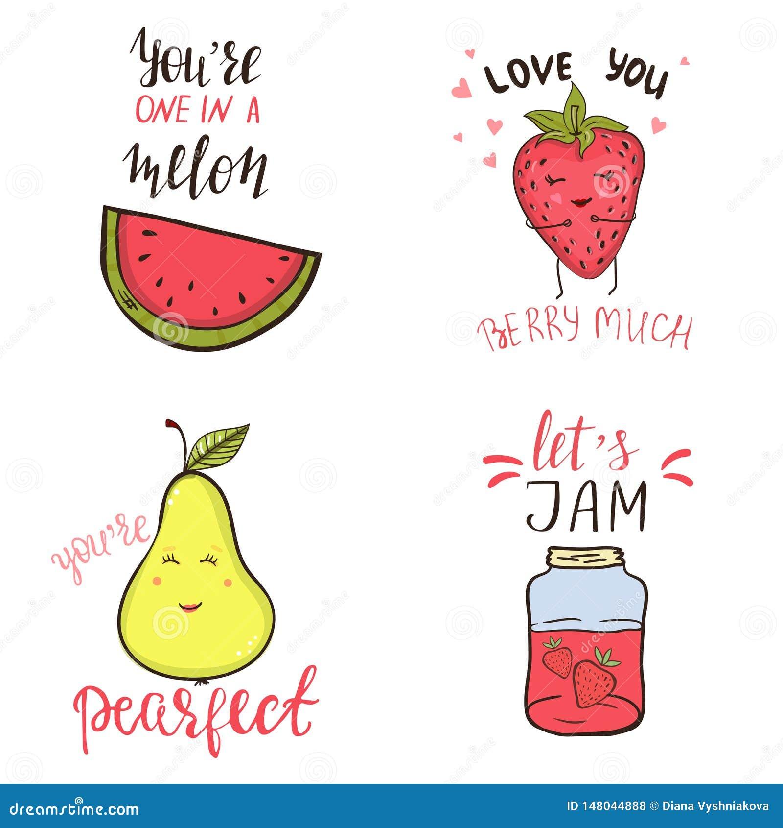 Σύνολο αστείων φράσεων λογοπαίγνιου και χαριτωμένων χαρακτήρων φρούτων