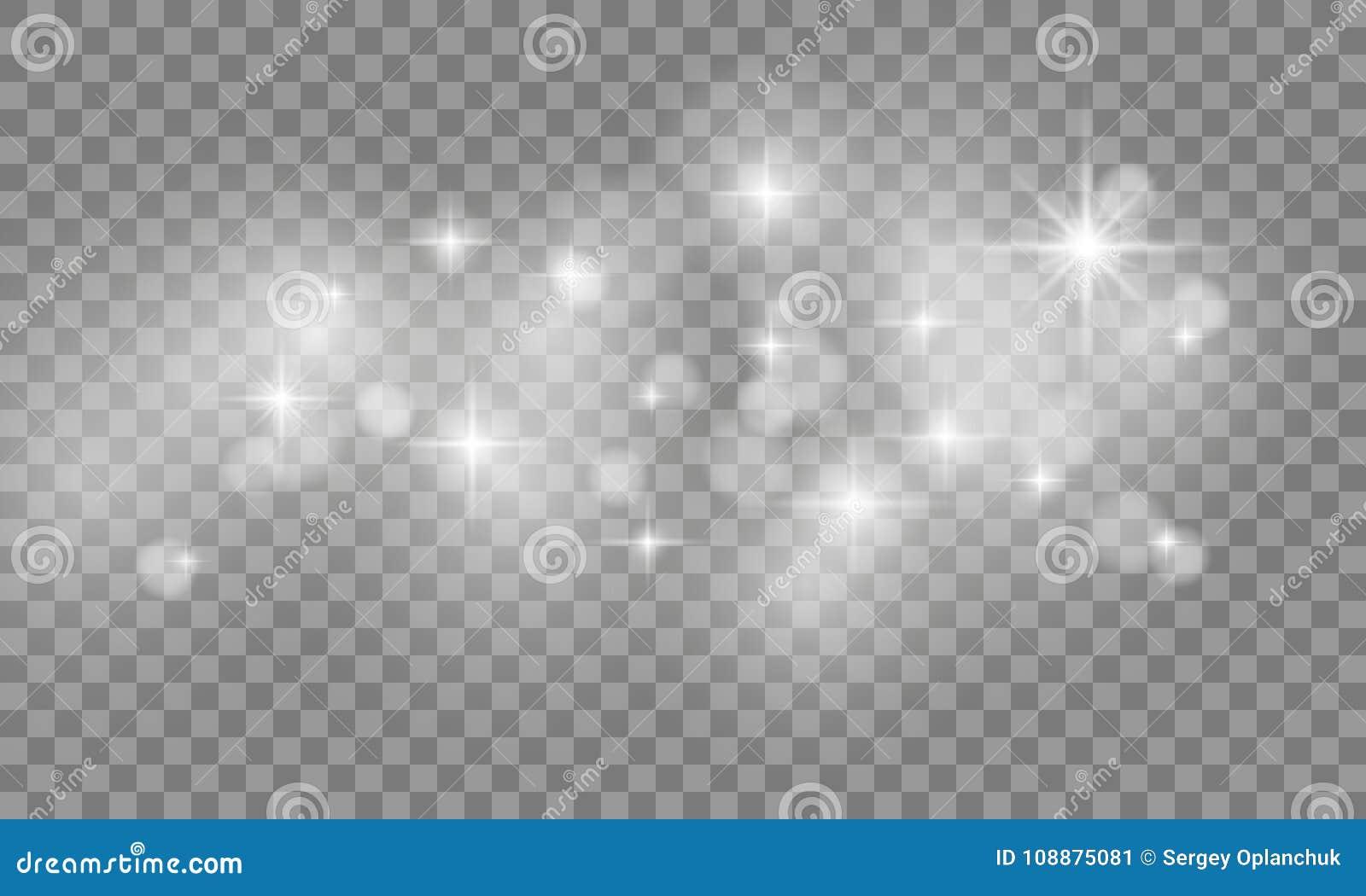 Σύνολο αστεριού που εκρήγνυνται και σπινθηρισμάτων με τα ελαφριά αποτελέσματα πυράκτωσης Λάμψη ήλιων με το επίκεντρο στο διαφανές