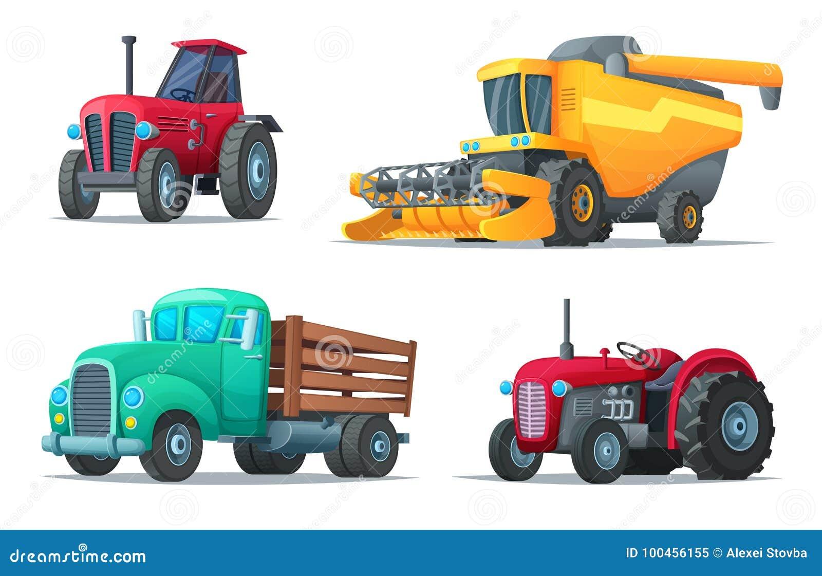Σύνολο γεωργικής μεταφοράς Αγροτικοί εξοπλισμός, τρακτέρ, φορτηγό και θεριστική μηχανή βιομηχανικά οχήματα Διάνυσμα σχεδίου κινού