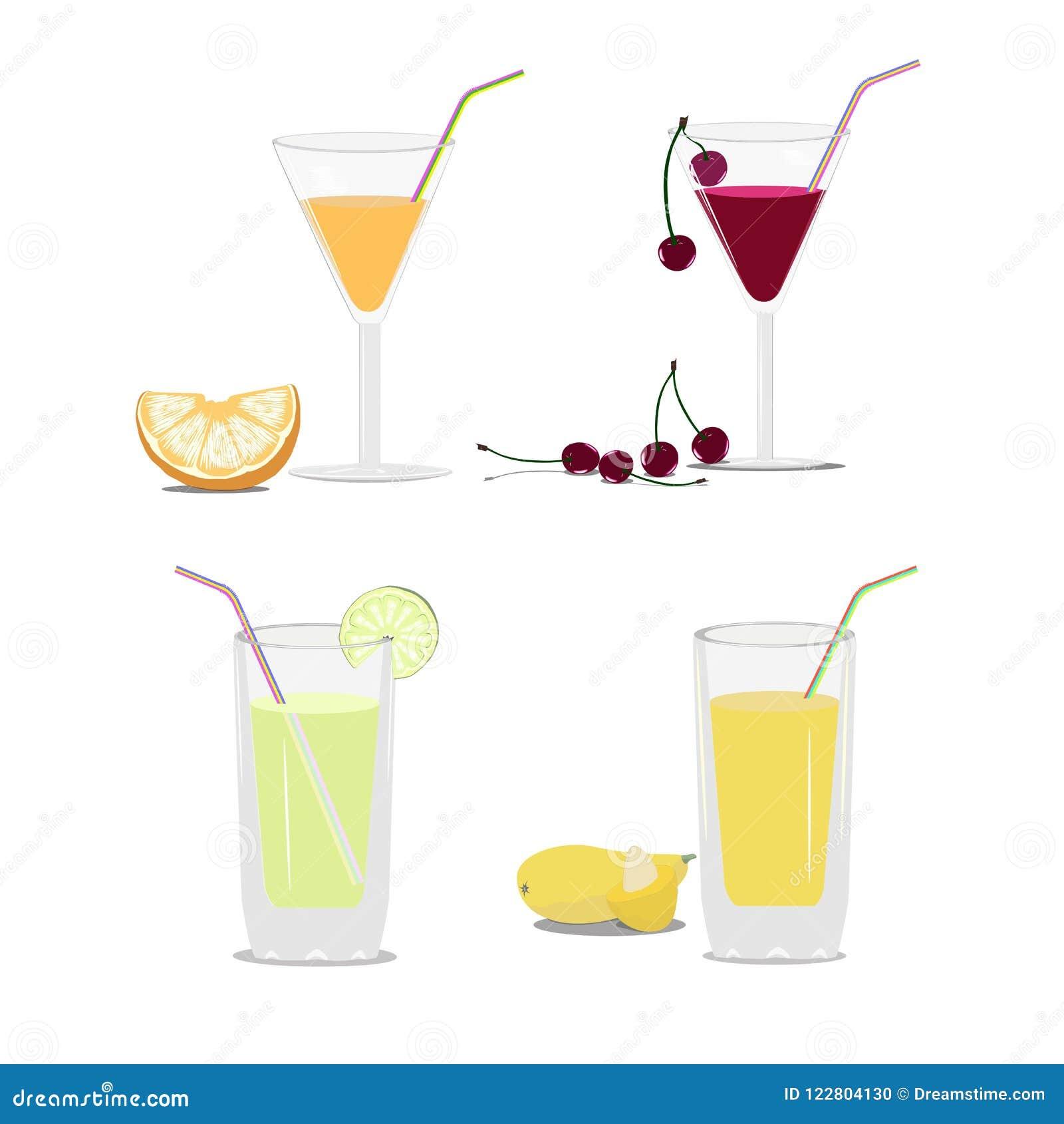 Σύνολο γυαλιών με το χυμό και τα φρούτα