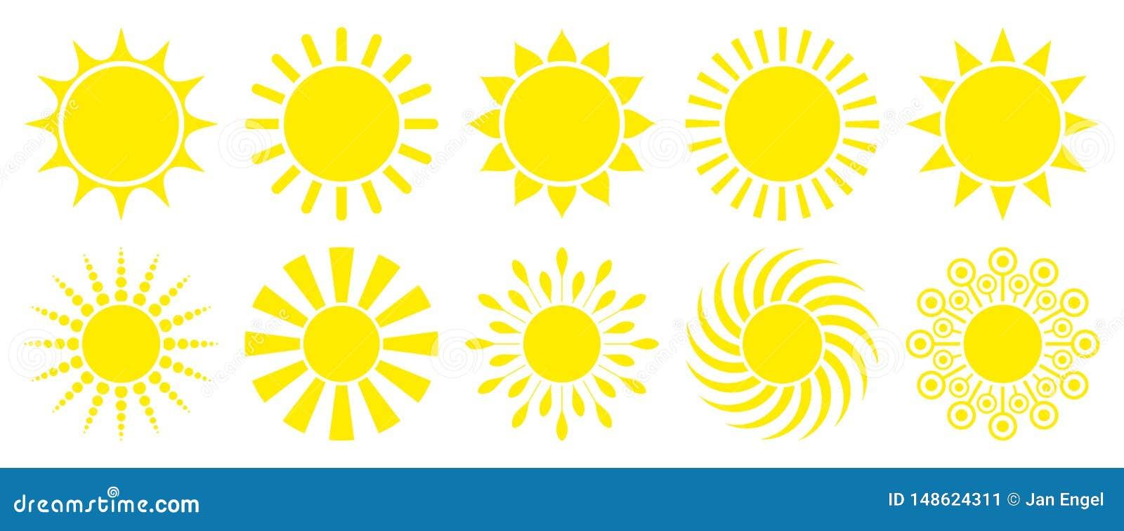 Σύνολο δέκα κίτρινων γραφικών εικονιδίων ήλιων