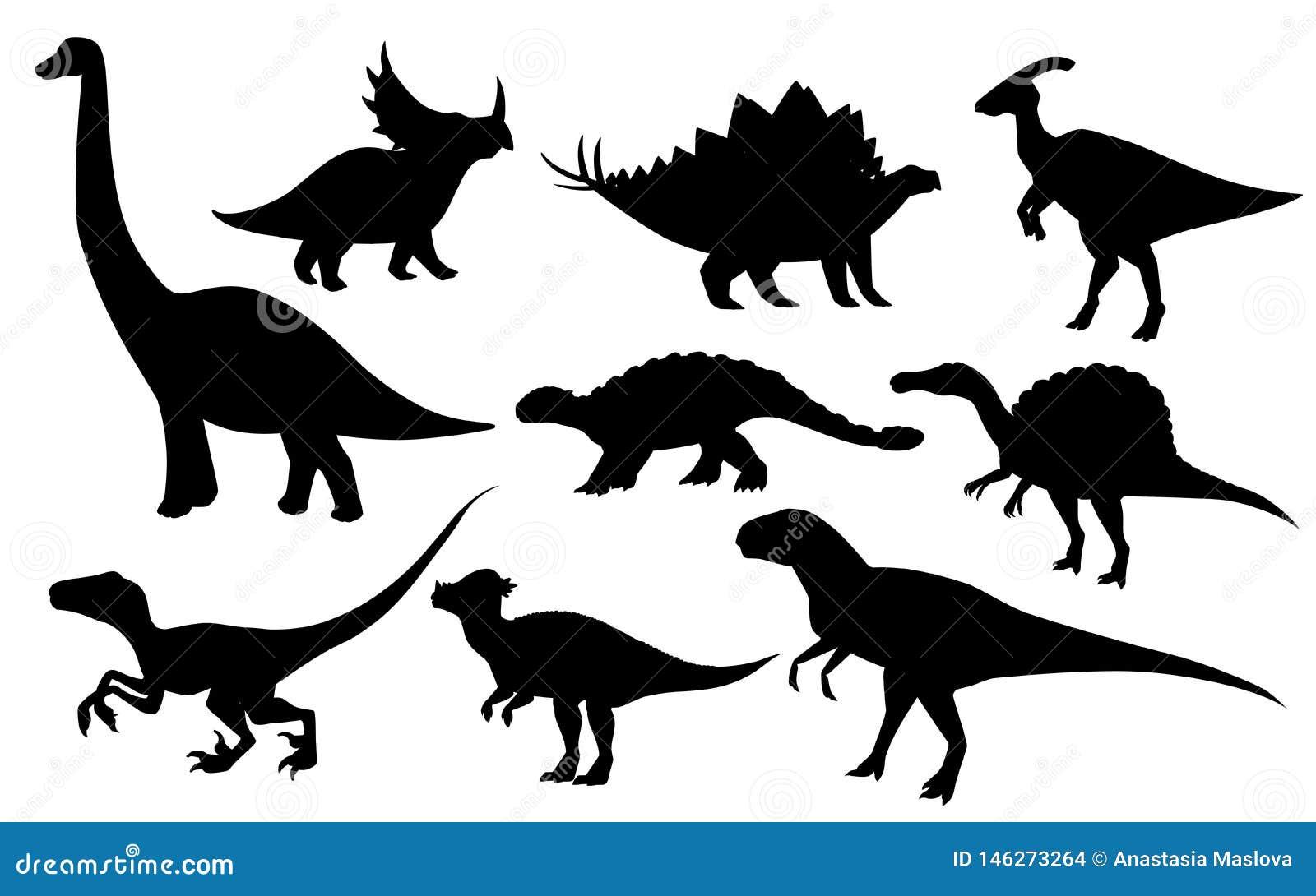 Σύνολο δεινοσαύρων κινούμενων σχεδίων Χαριτωμένη συλλογή εικονιδίων δεινοσαύρων Μαύρα αρπακτικά ζώα σκιαγραφιών και herbivores r