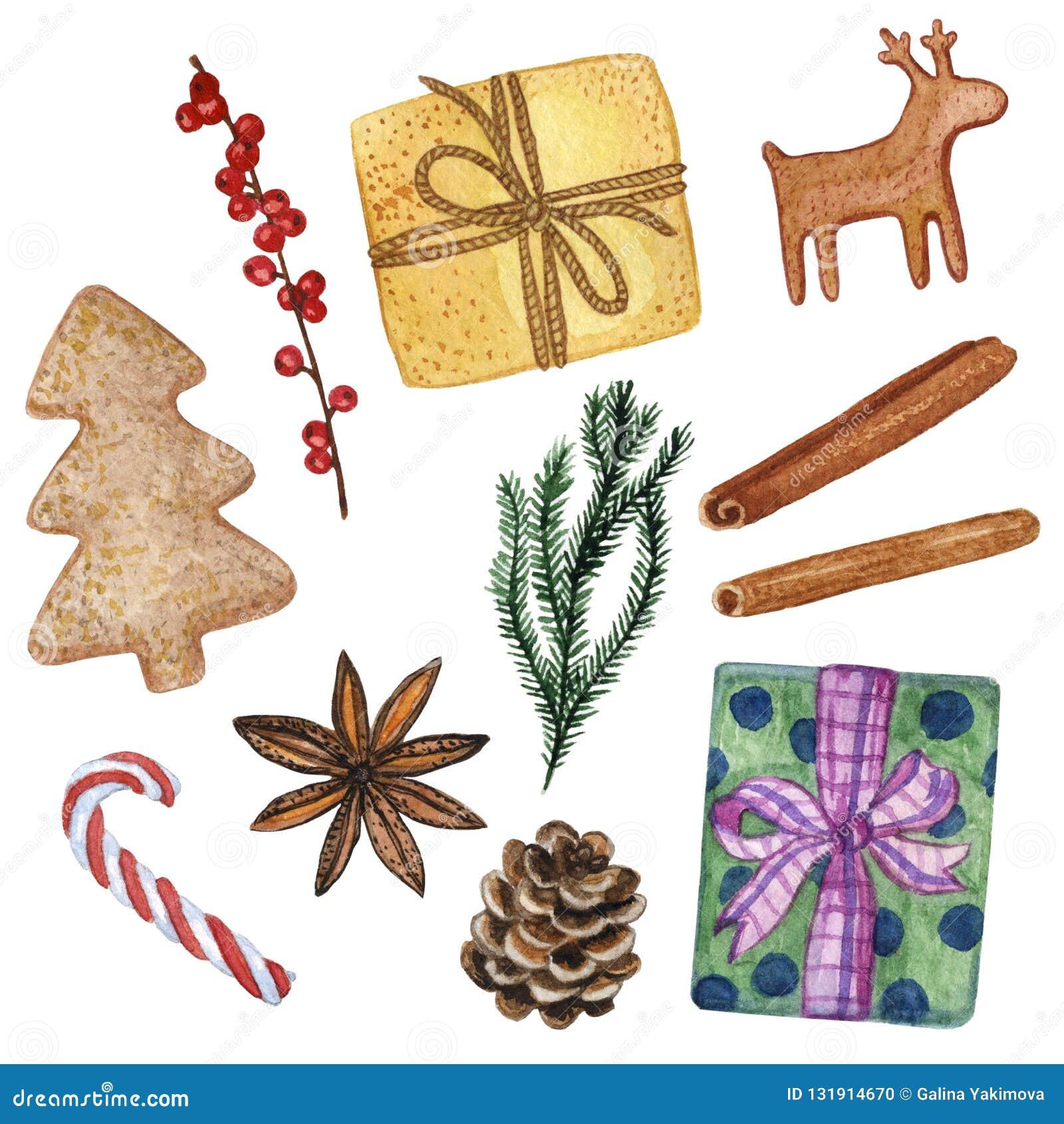 Σύνολο 11 διάφορων νέων διακοσμητικών στοιχείων έτους και Χριστουγέννων - Hand-drawn απεικόνιση Watercolour που απομονώνεται στο