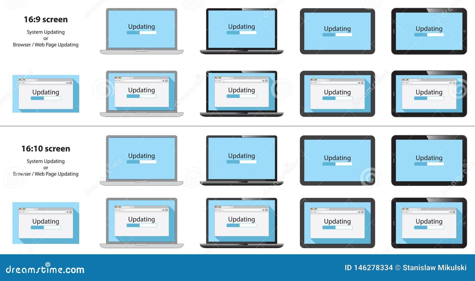 Σύνολο διαδικασίας ενημέρωσης στο παράθυρο μηχανών αναζήτησης, οθόνη σημειωματάριων, PC ταμπλετών