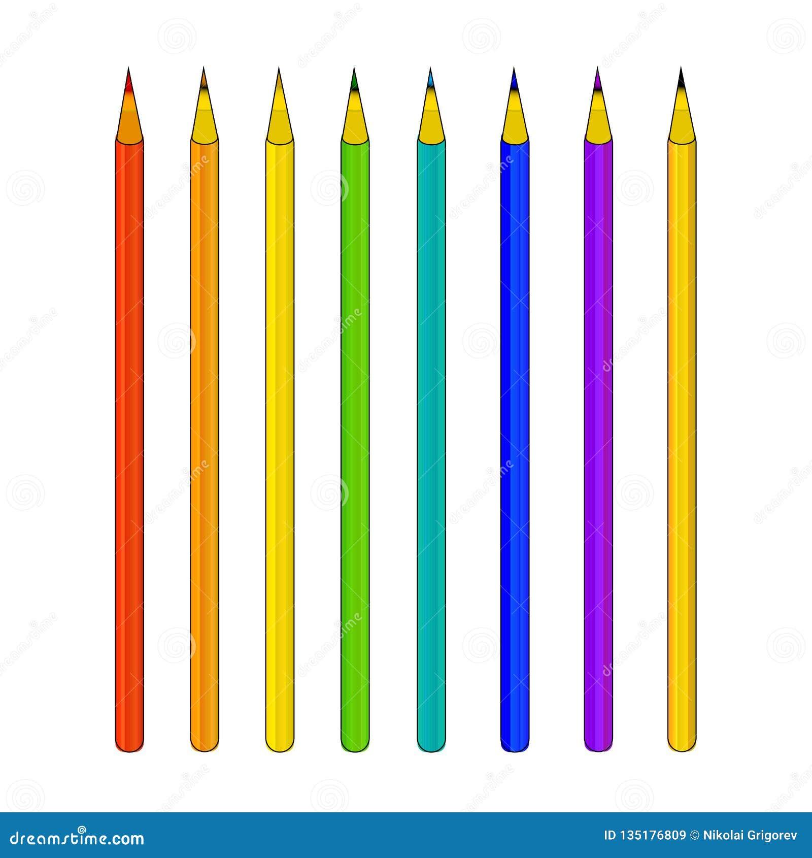 Σύνολο διανυσματικών μολυβιών χρώματος σε ένα άσπρο υπόβαθρο