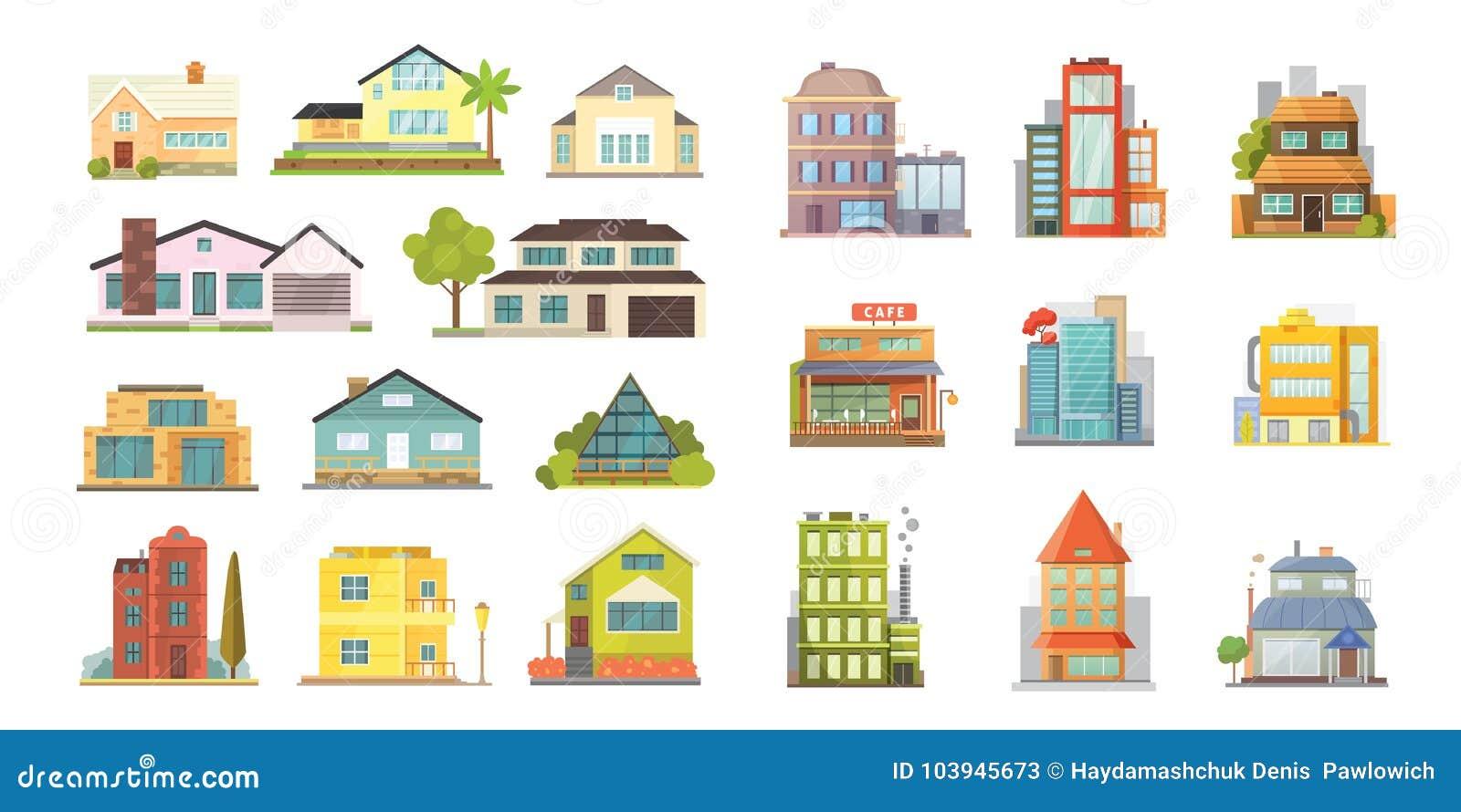 Σύνολο διαφορετικών κατοικημένων σπιτιών μορφών Αναδρομικά και σύγχρονα κτήρια αρχιτεκτονικής πόλεων Μπροστινό διάνυσμα κινούμενω